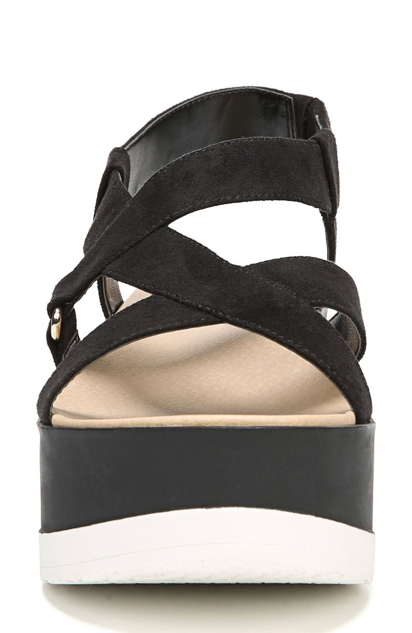 Companion Platform Sandal,                             Alternate thumbnail 4, color,                             BLACK FABRIC