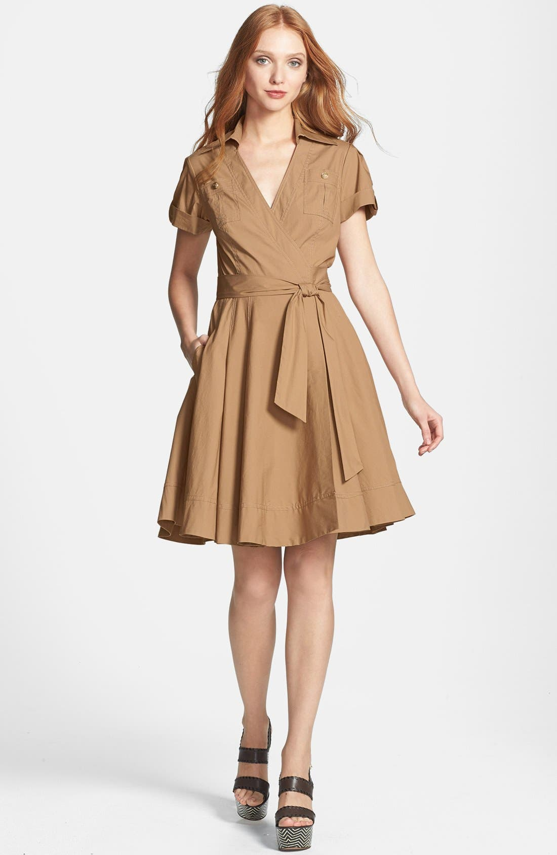 'Kaley' Pleated Cotton Blend Wrap Dress,                         Main,                         color, 250