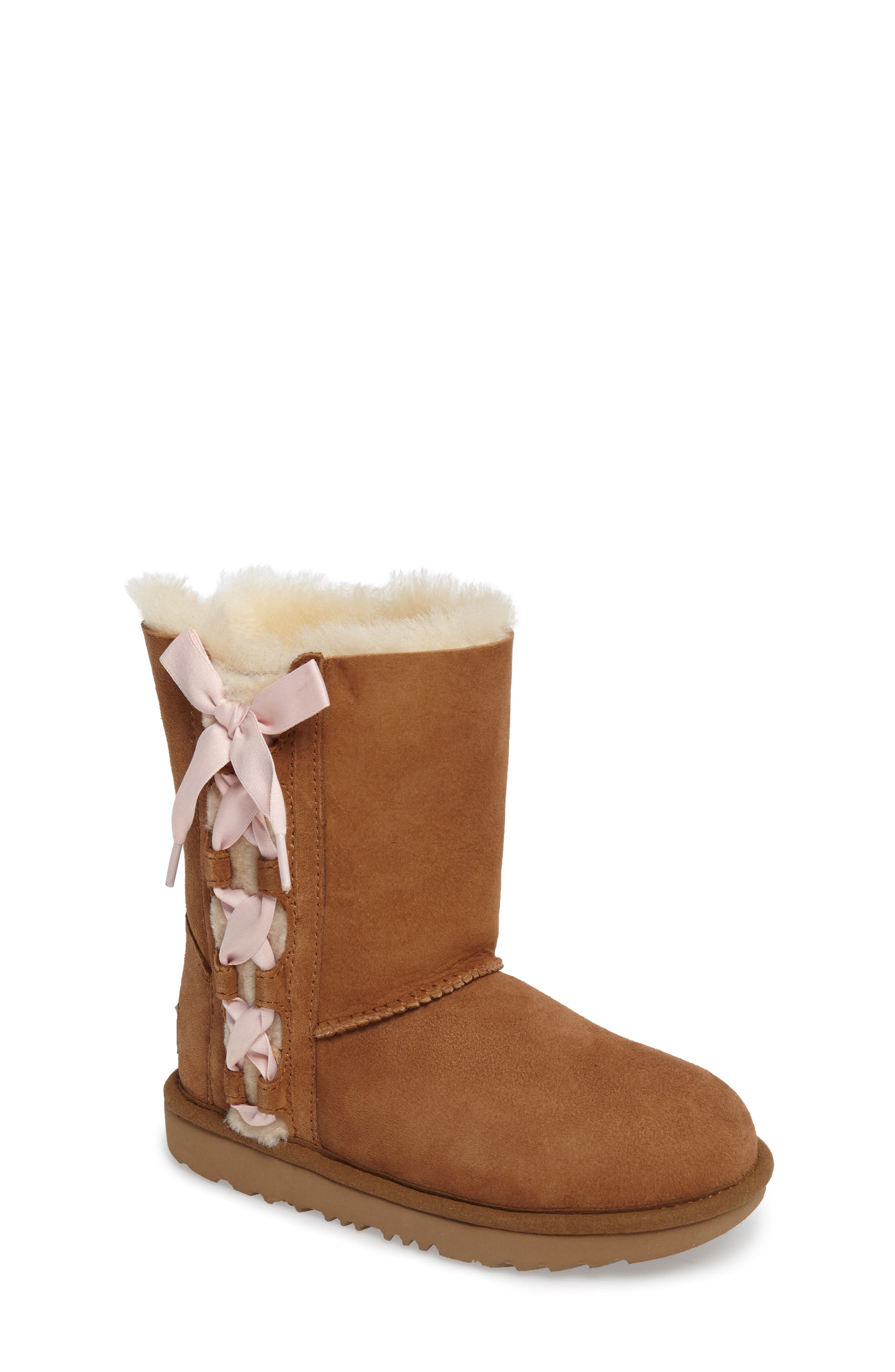 Pala Water-Resistant Genuine Shearling Boot,                             Main thumbnail 1, color,                             CHESTNUT