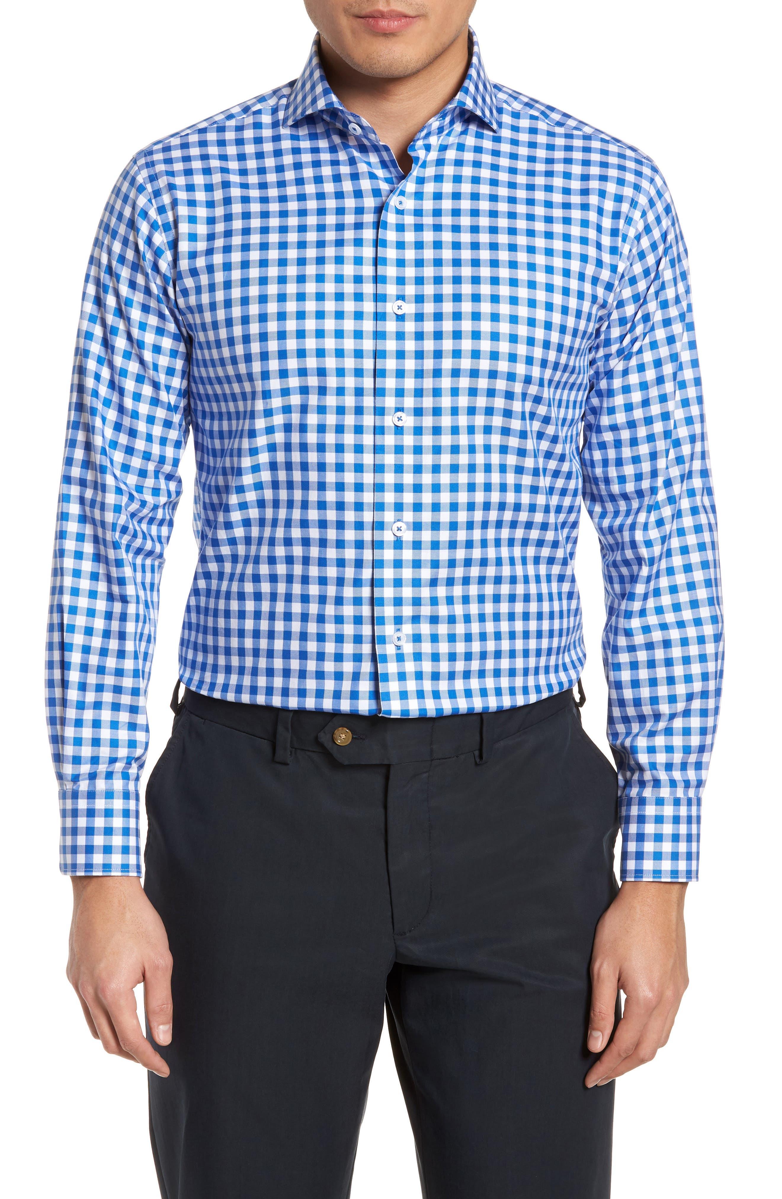 Trim Fit Gingham Dress Shirt,                         Main,                         color, BLUE