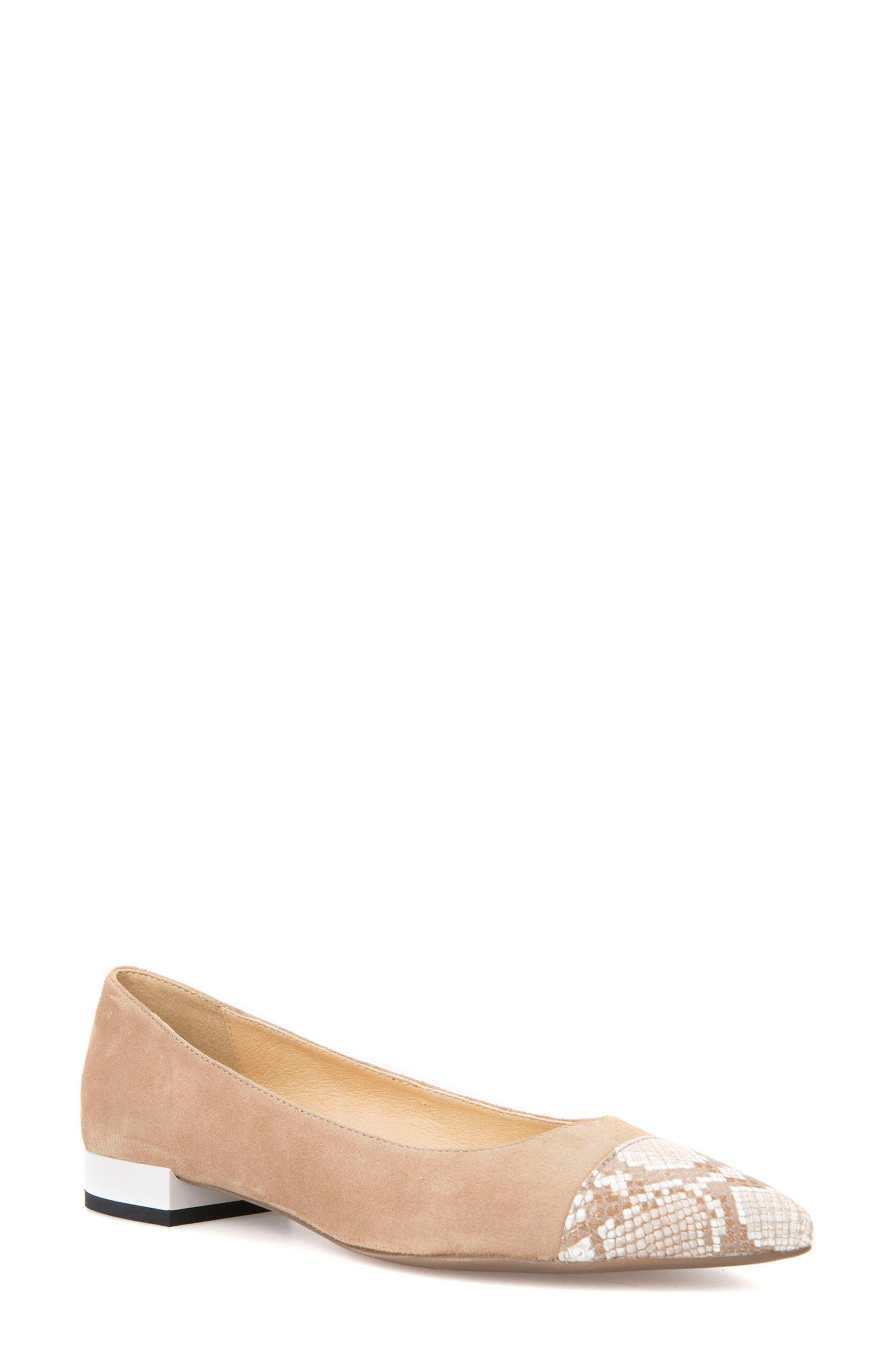 Charyssa Flat,                             Main thumbnail 1, color,                             BEIGE LEATHER