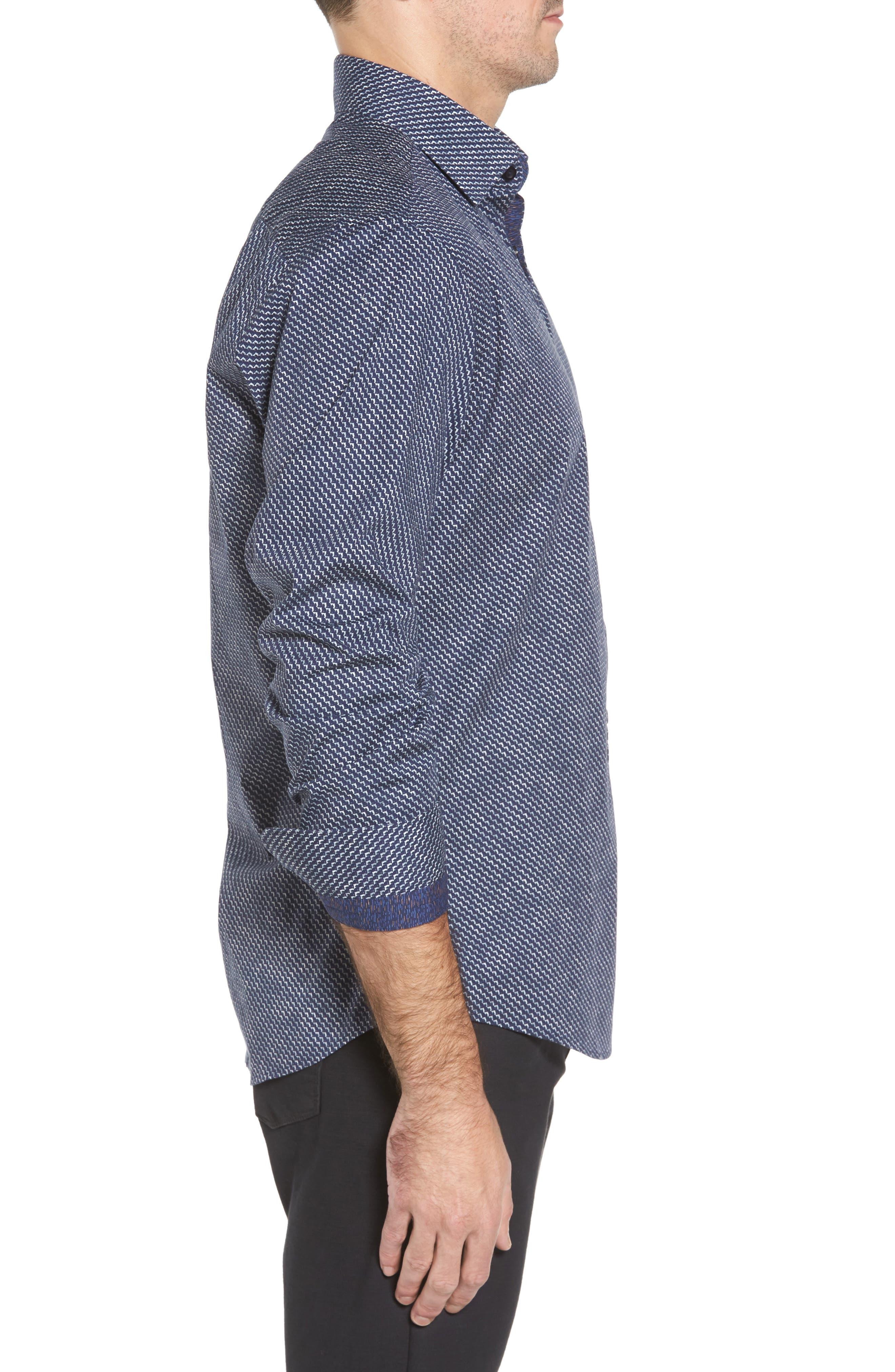 Slim Fit Wolf Texture FX Sport Shirt,                             Alternate thumbnail 3, color,