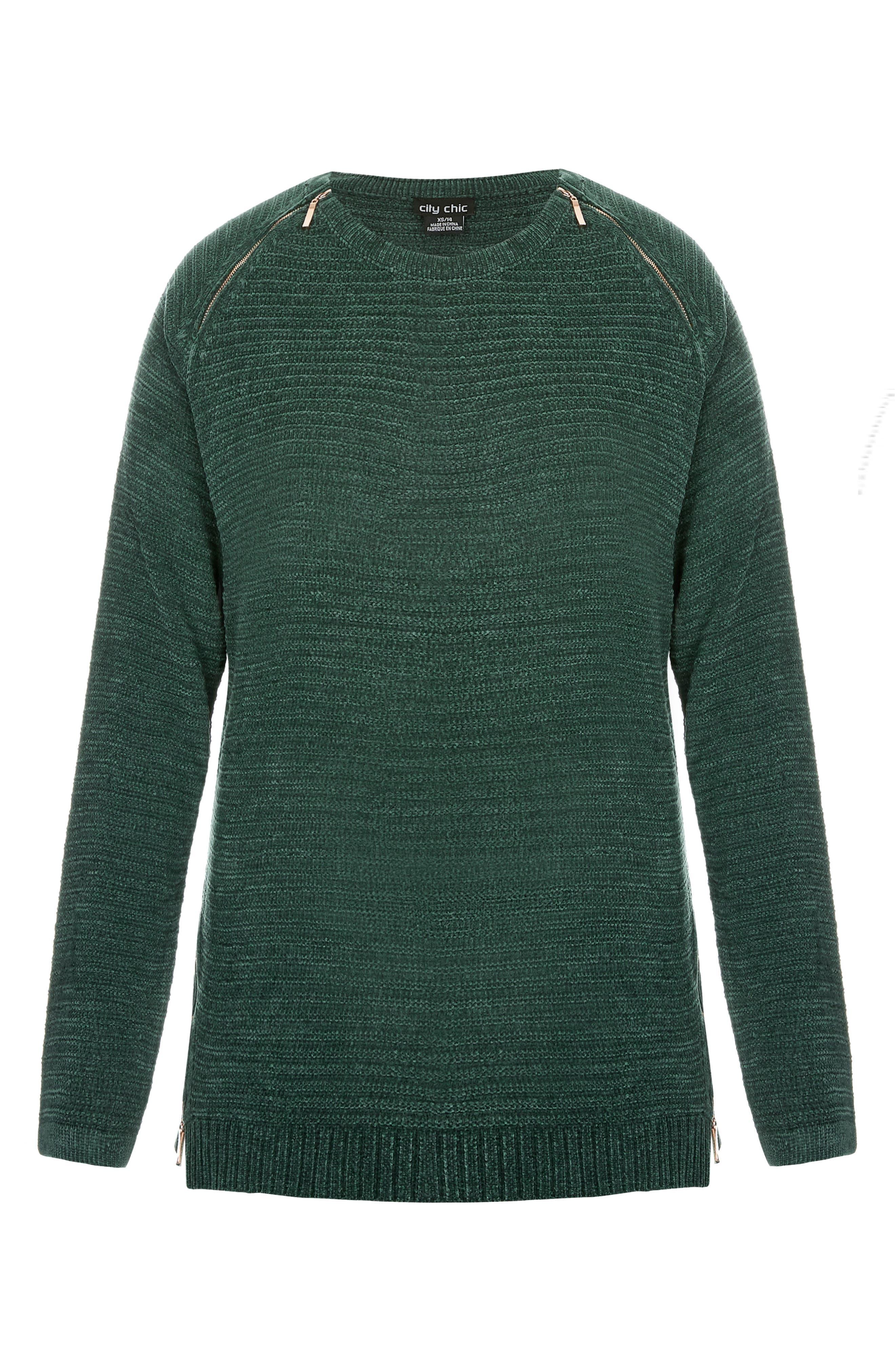 Zip Detail Sweater,                             Alternate thumbnail 3, color,                             EMERALD