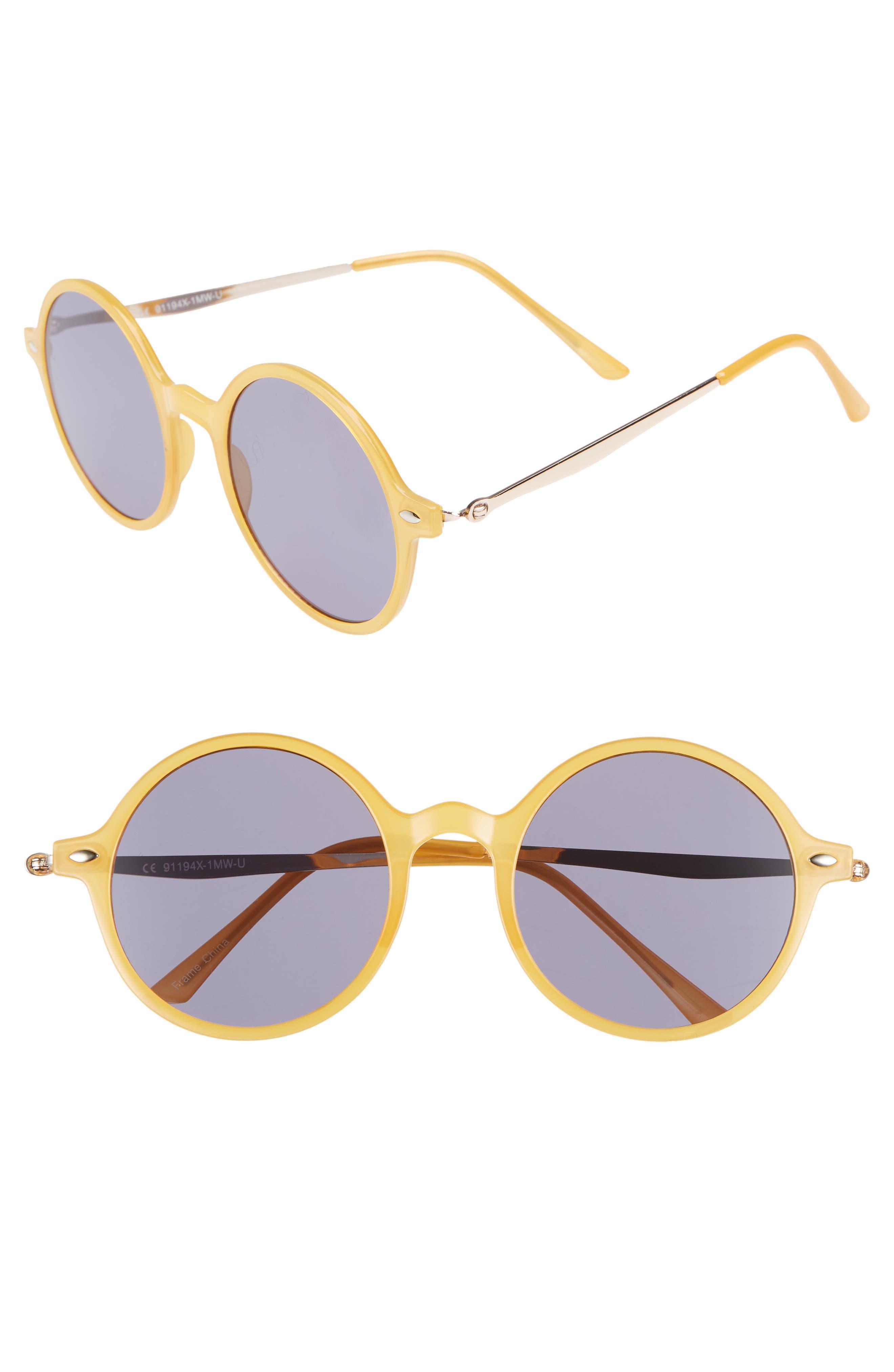 48mm Round Mixed Media Sunglasses,                         Main,                         color, NAVY/ YELLOW