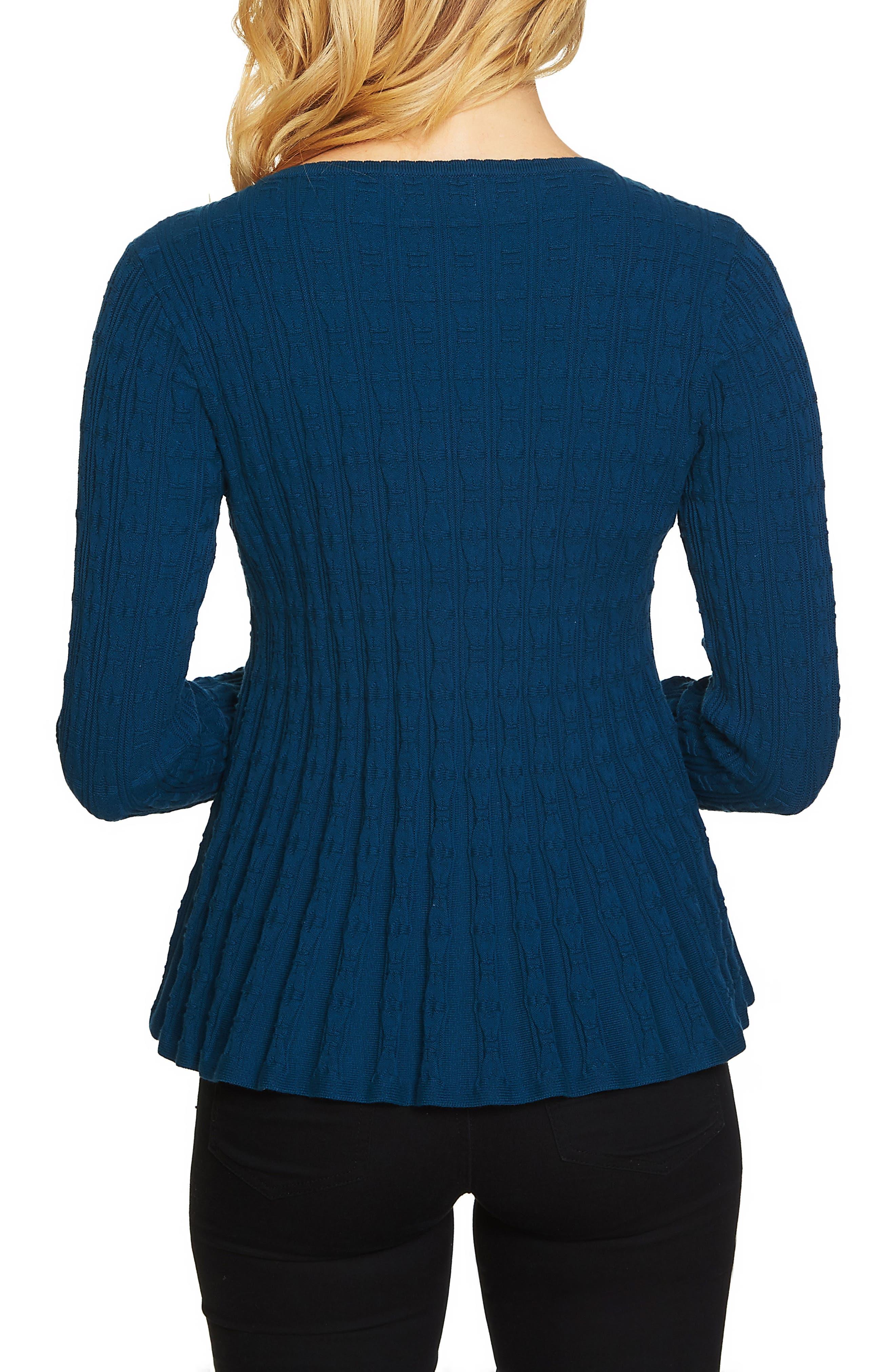 Textured Peplum Sweater,                             Alternate thumbnail 4, color,