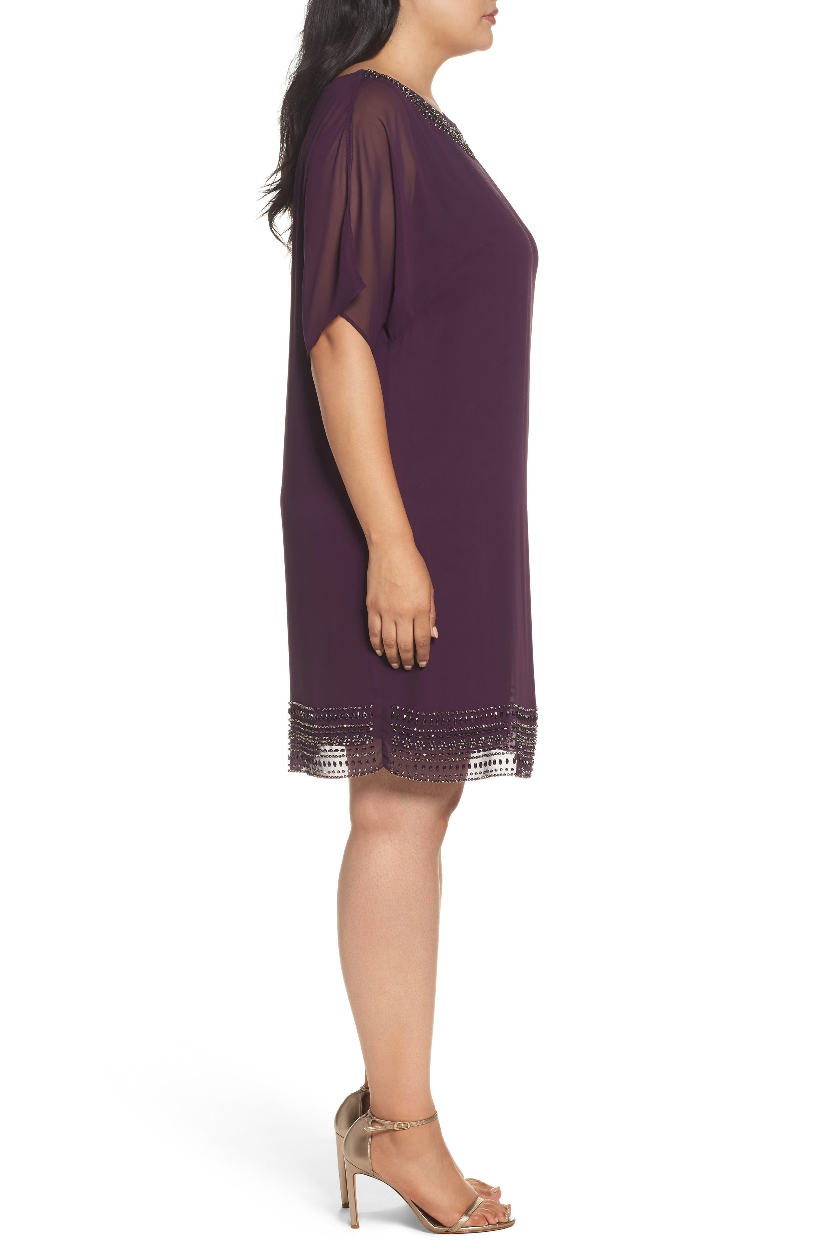 Embellished Split Sleeve Chiffon Shift Dress,                             Alternate thumbnail 6, color,