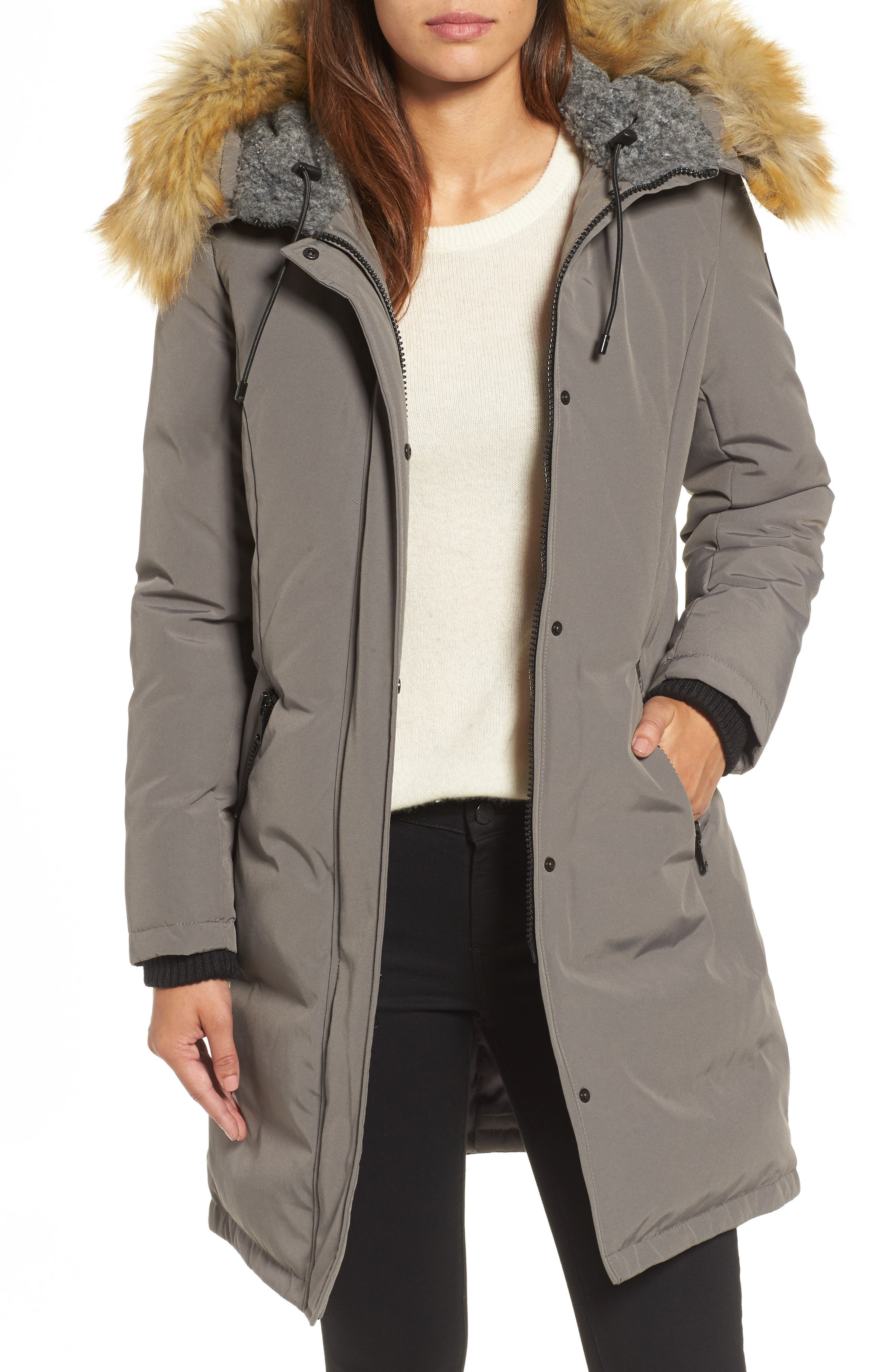 Down & Feather Fill Parka with Faux Fur Trim,                         Main,                         color,