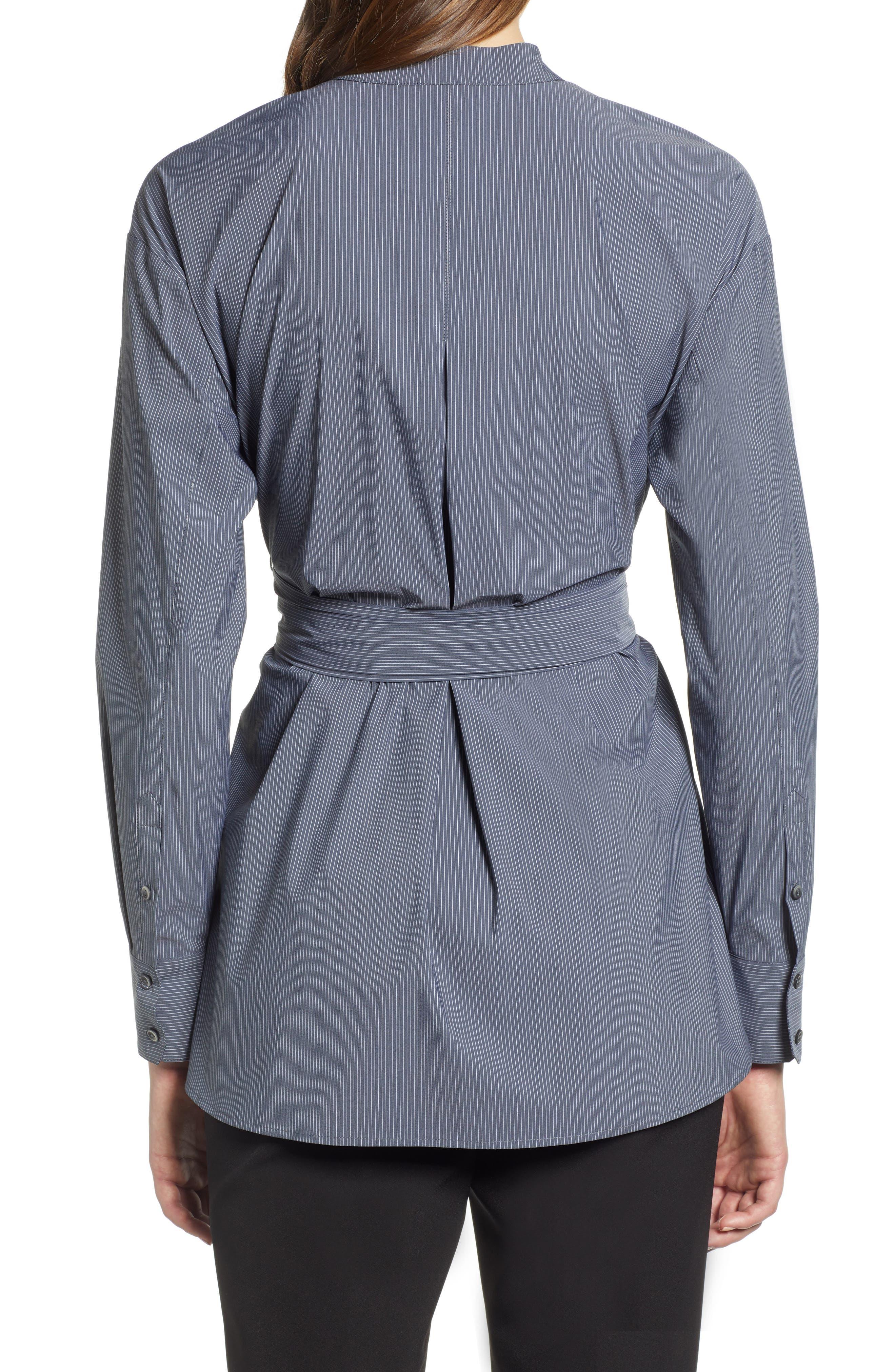 Belted Poplin Shirt,                             Alternate thumbnail 2, color,                             001