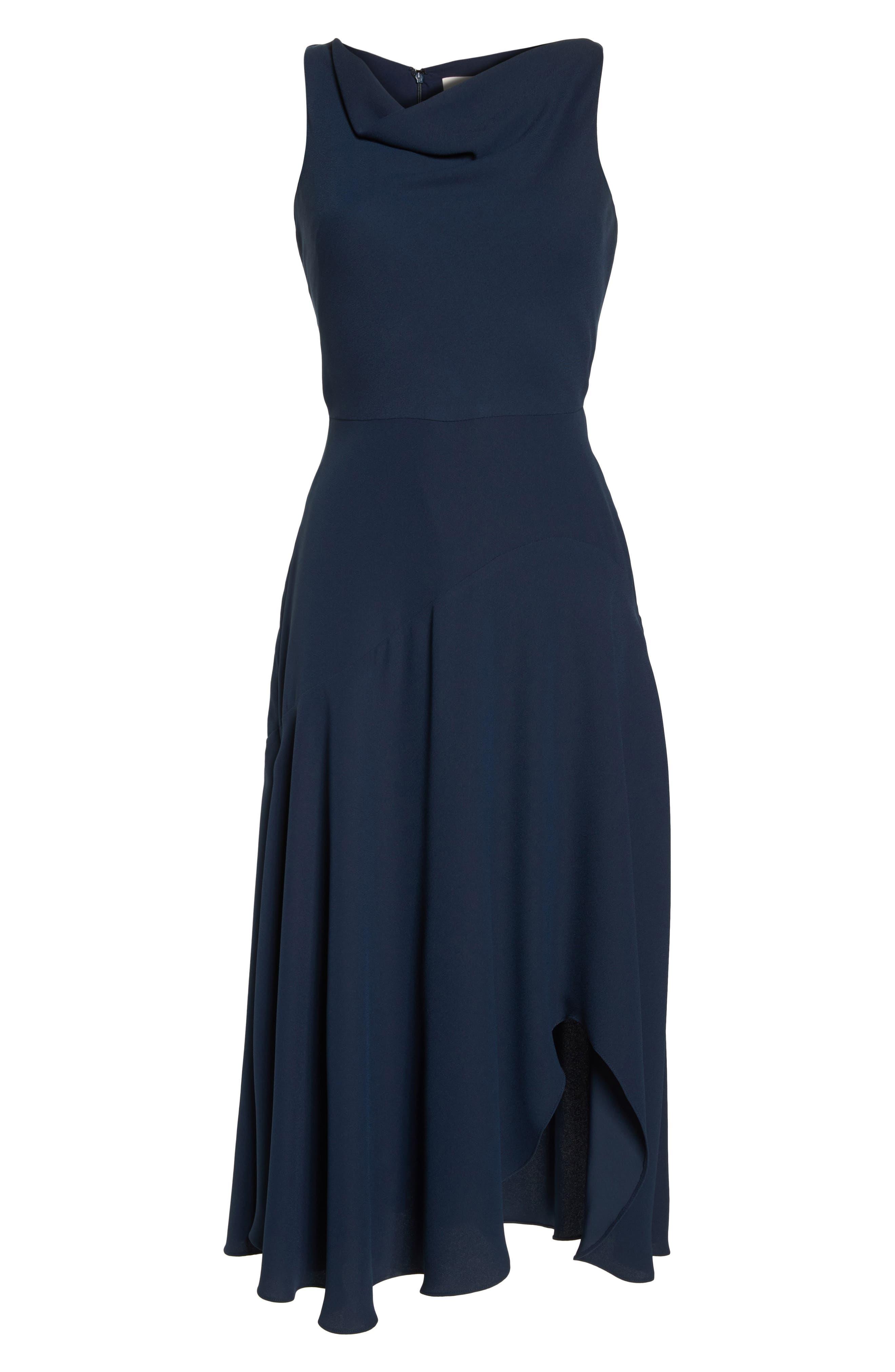 Juliet Cowl Neck Crepe Dress,                             Alternate thumbnail 7, color,                             419