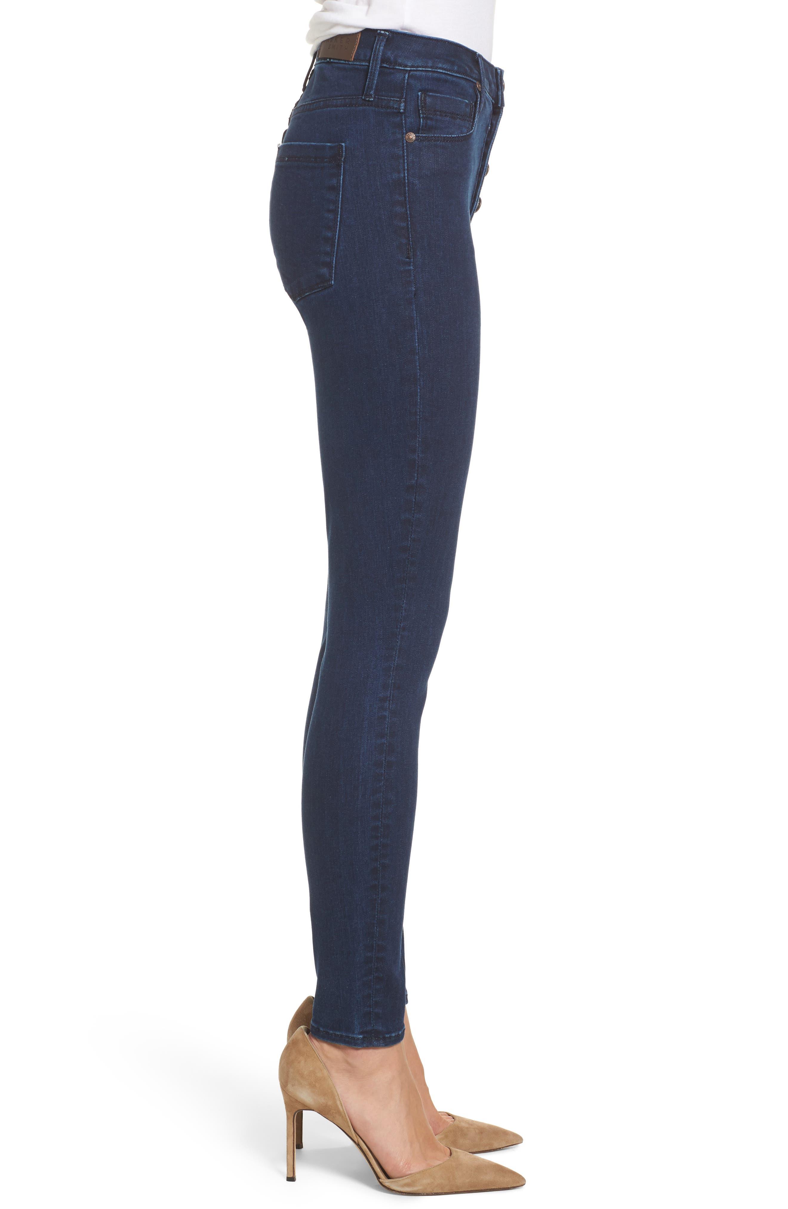 Bombshell High Waist Skinny Jeans,                             Alternate thumbnail 3, color,                             401