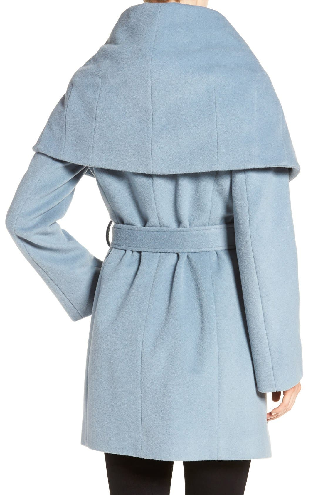 T Tahari Wool Blend Belted Wrap Coat,                             Alternate thumbnail 45, color,
