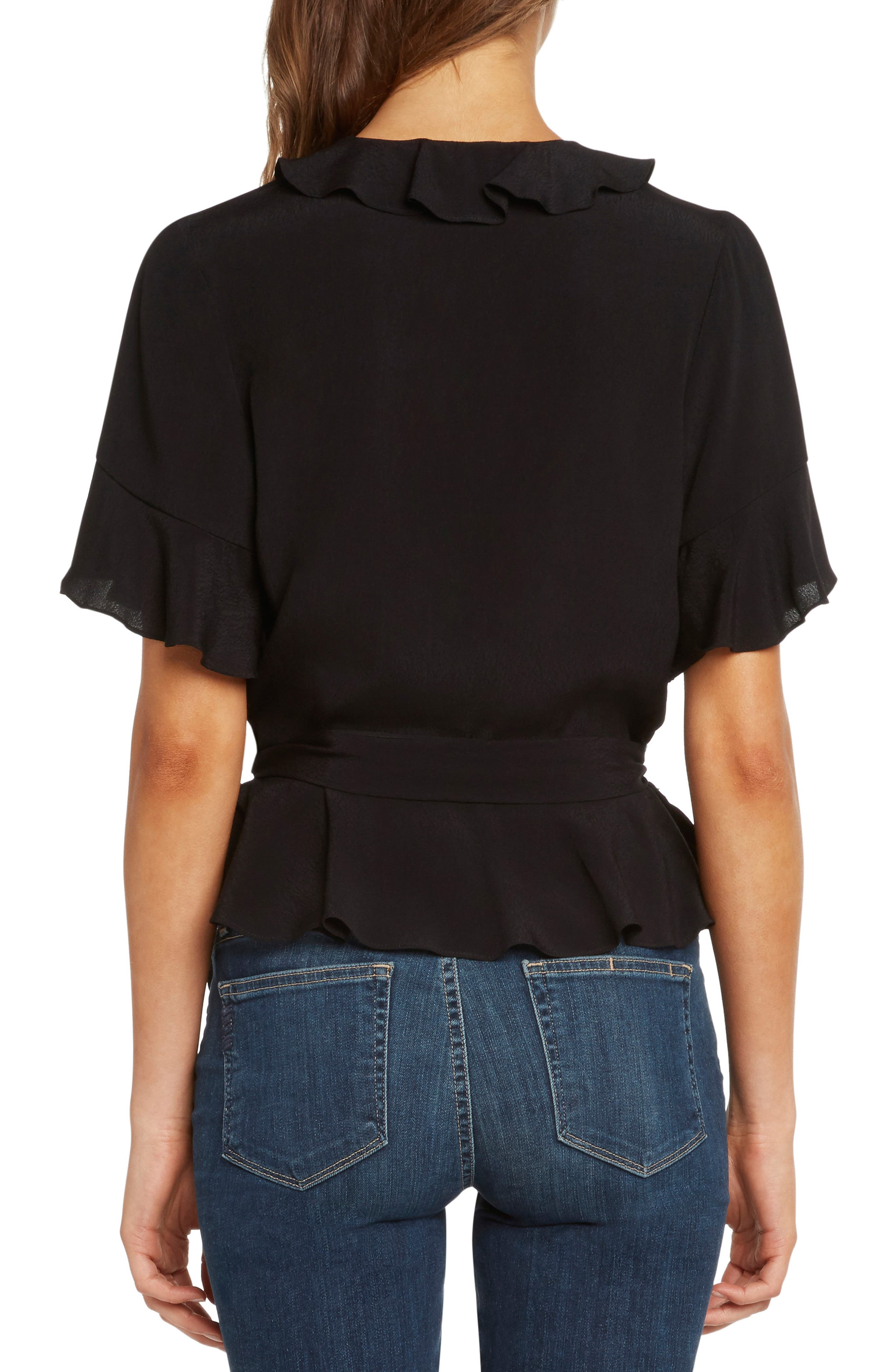 WILLOW & CLAY,                             Ruffle Wrap Top,                             Alternate thumbnail 2, color,                             001