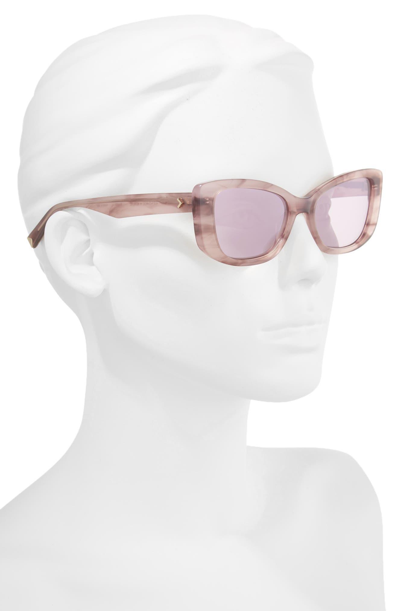 53mm Cat Eye Sunglasses,                             Alternate thumbnail 2, color,                             ROSE HORN