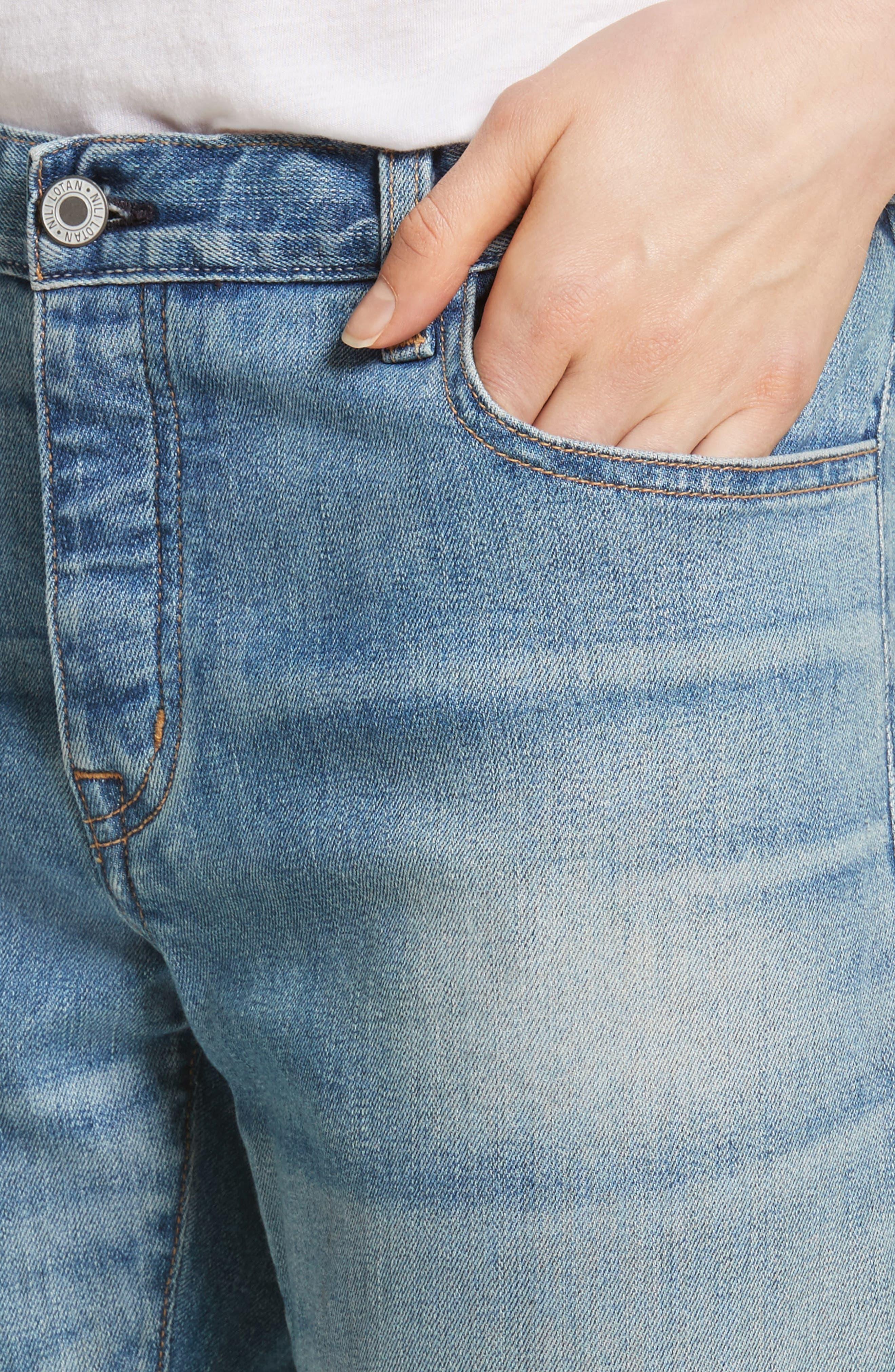 NILI LOTAN,                             Raw Edge Crop Boyfriend Jeans,                             Alternate thumbnail 4, color,                             VENICE WASH