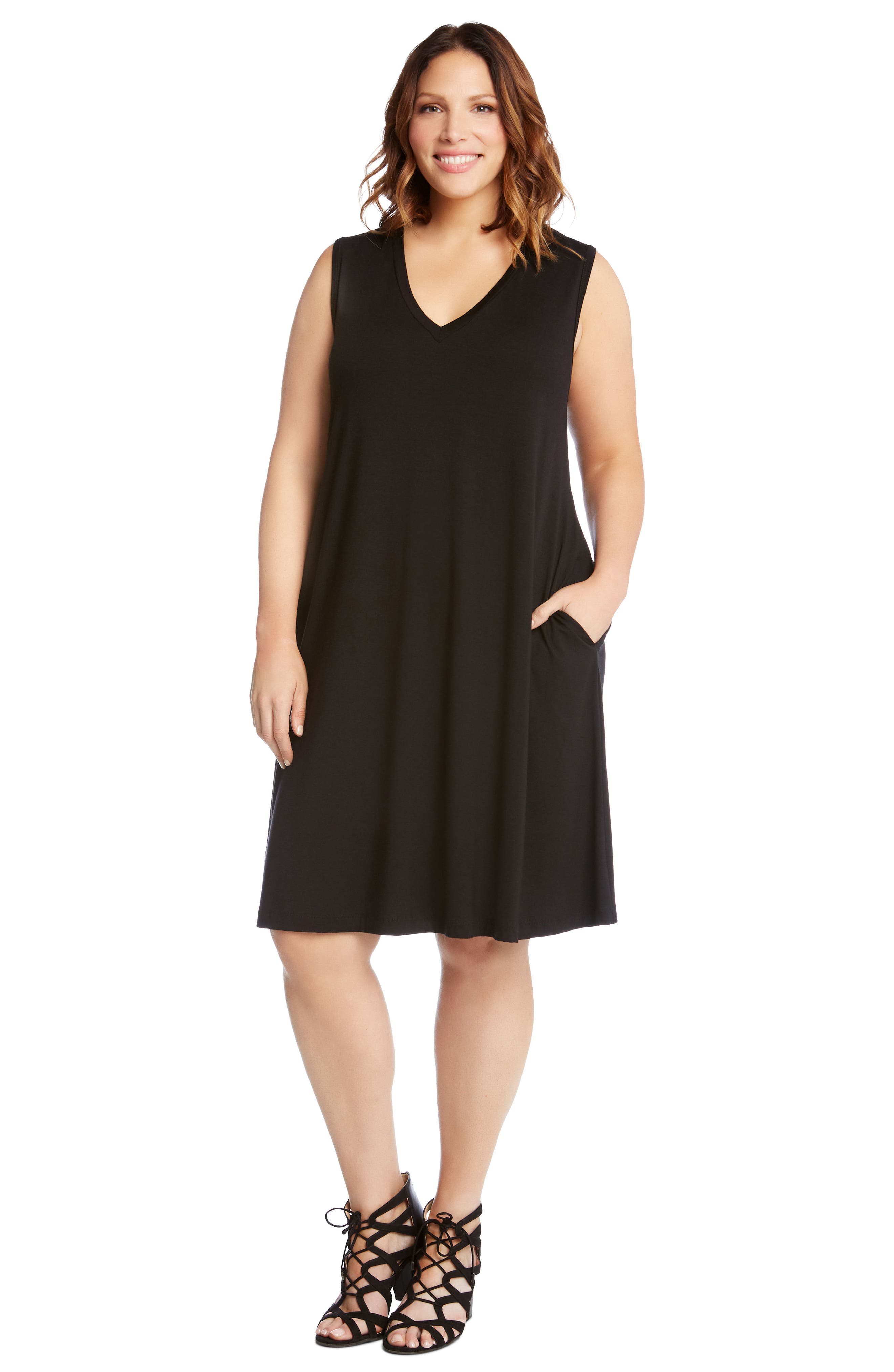 Sleeveless Pocket Jersey Dress,                             Alternate thumbnail 4, color,                             BLACK