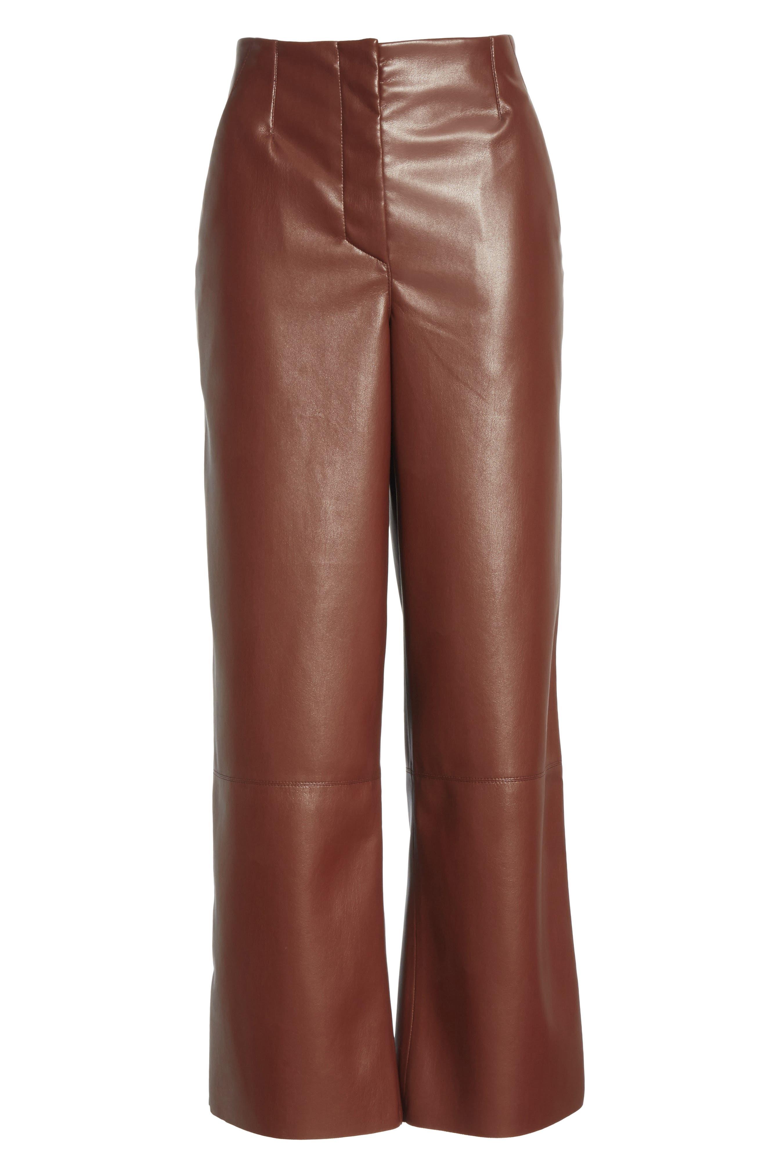 Africa Faux Leather Wide Leg Crop Pants,                             Alternate thumbnail 6, color,                             PLUM CHUTNEY