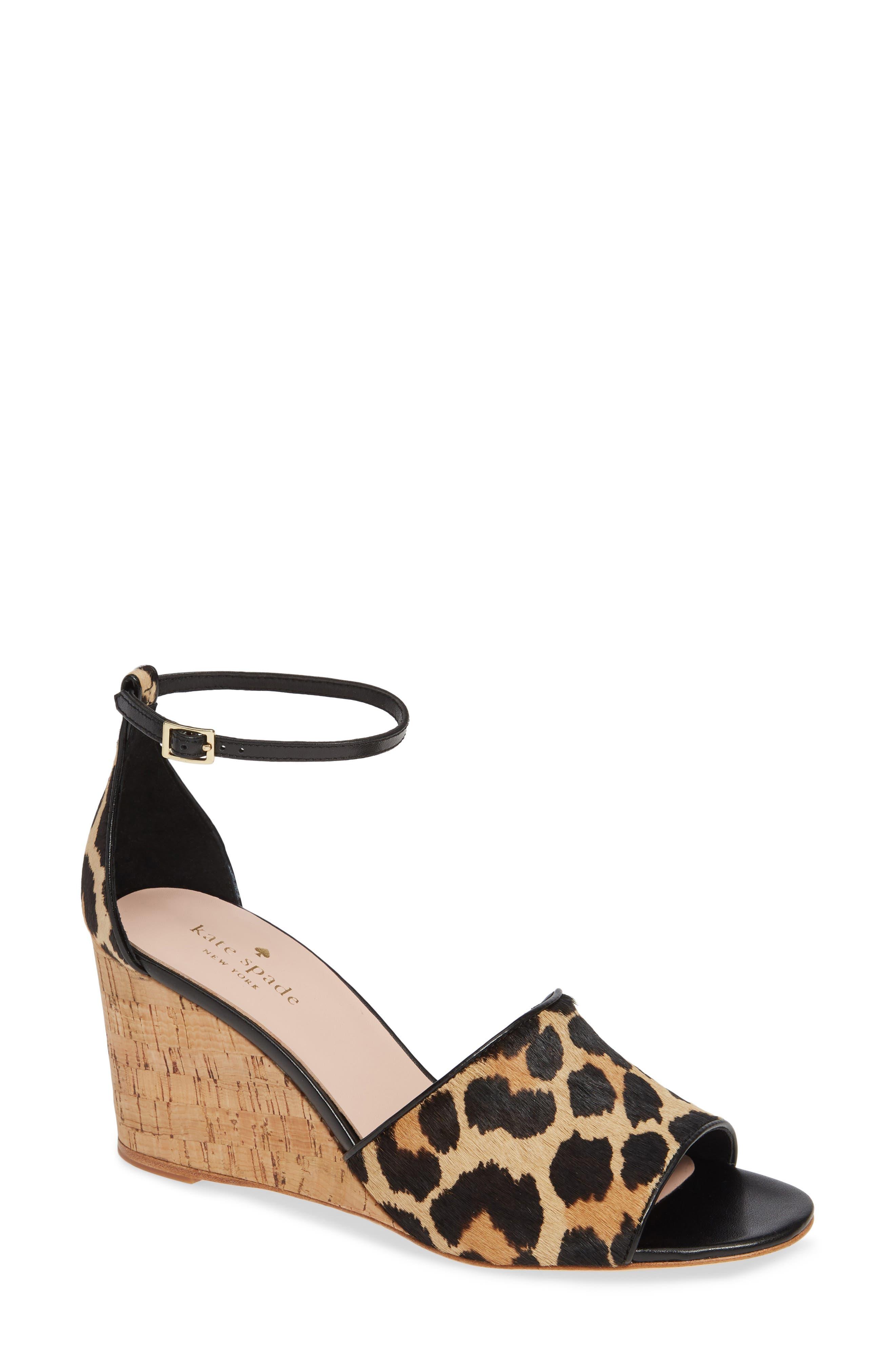 KATE SPADE NEW YORK,                             lonnie genuine calf hair wedge sandal,                             Main thumbnail 1, color,                             BLACK/ AMARETTO LEOPARD
