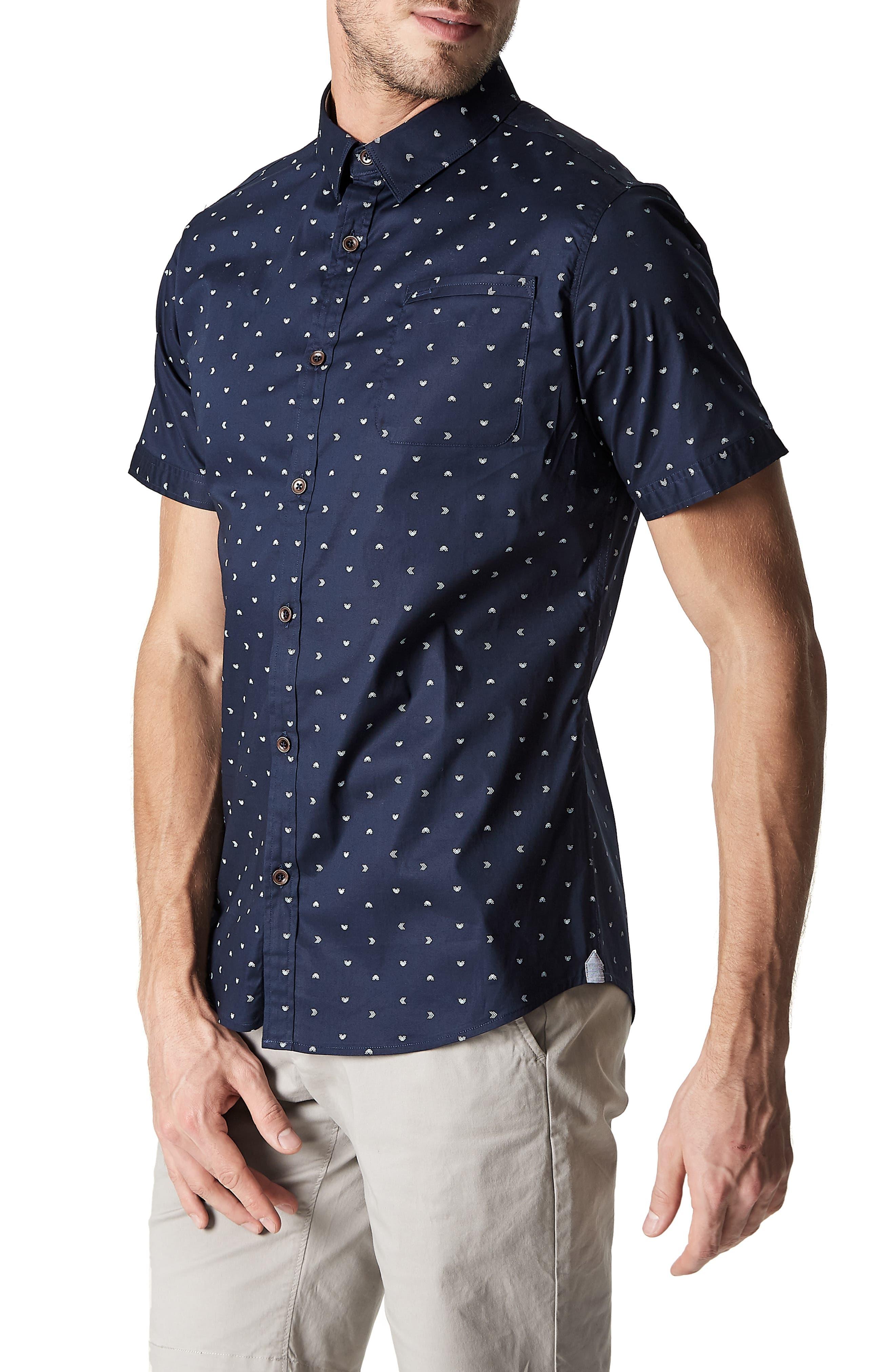 7 DIAMONDS,                             Rhythm Nation Trim Fit Stretch Short Sleeve Sport Shirt,                             Alternate thumbnail 4, color,                             NAVY