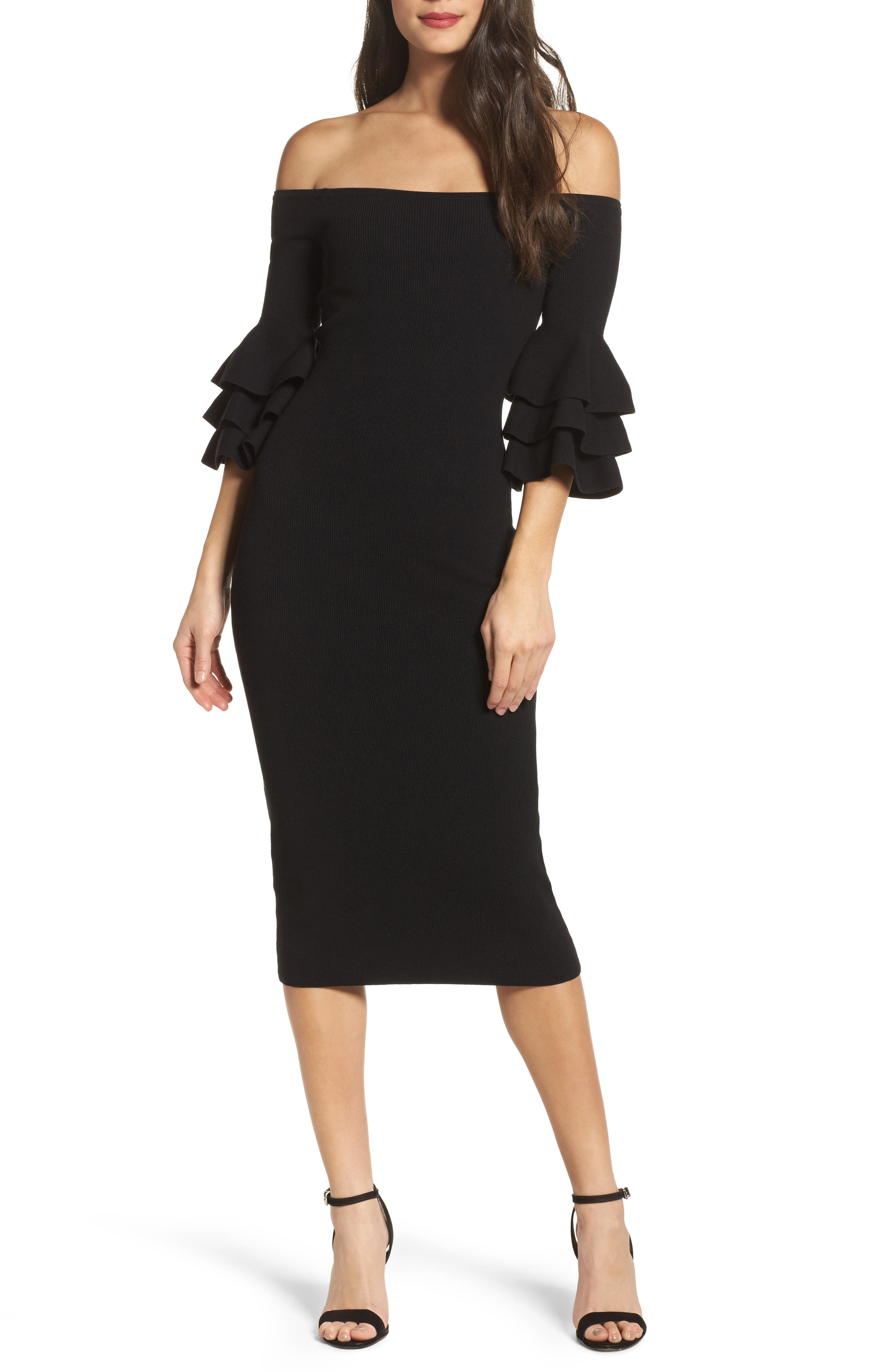 Off the Shoulder Midi Sweater Dress,                         Main,                         color, 001