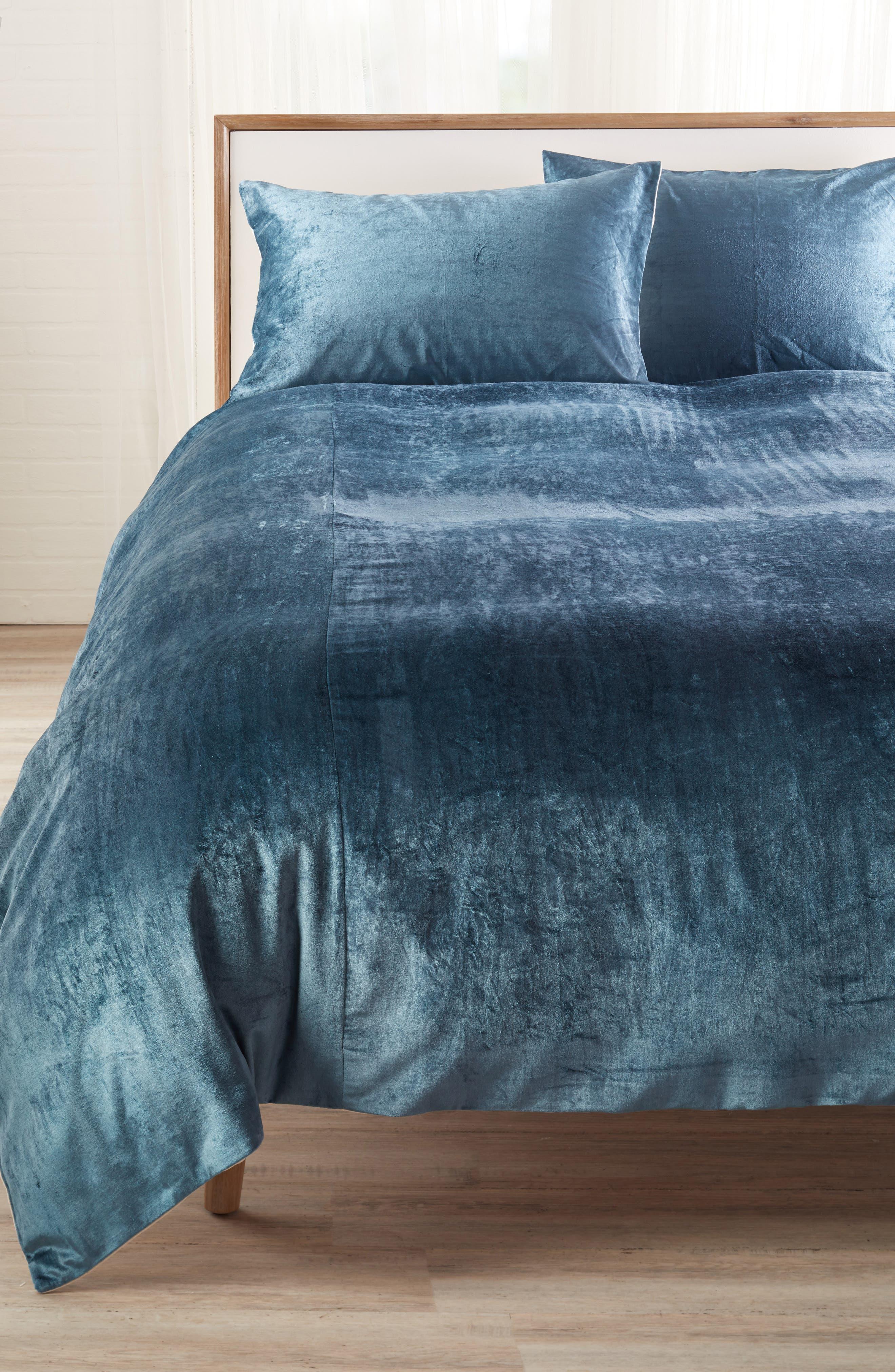 Shimmer Velvet Duvet Cover,                         Main,                         color, TEAL GAZER
