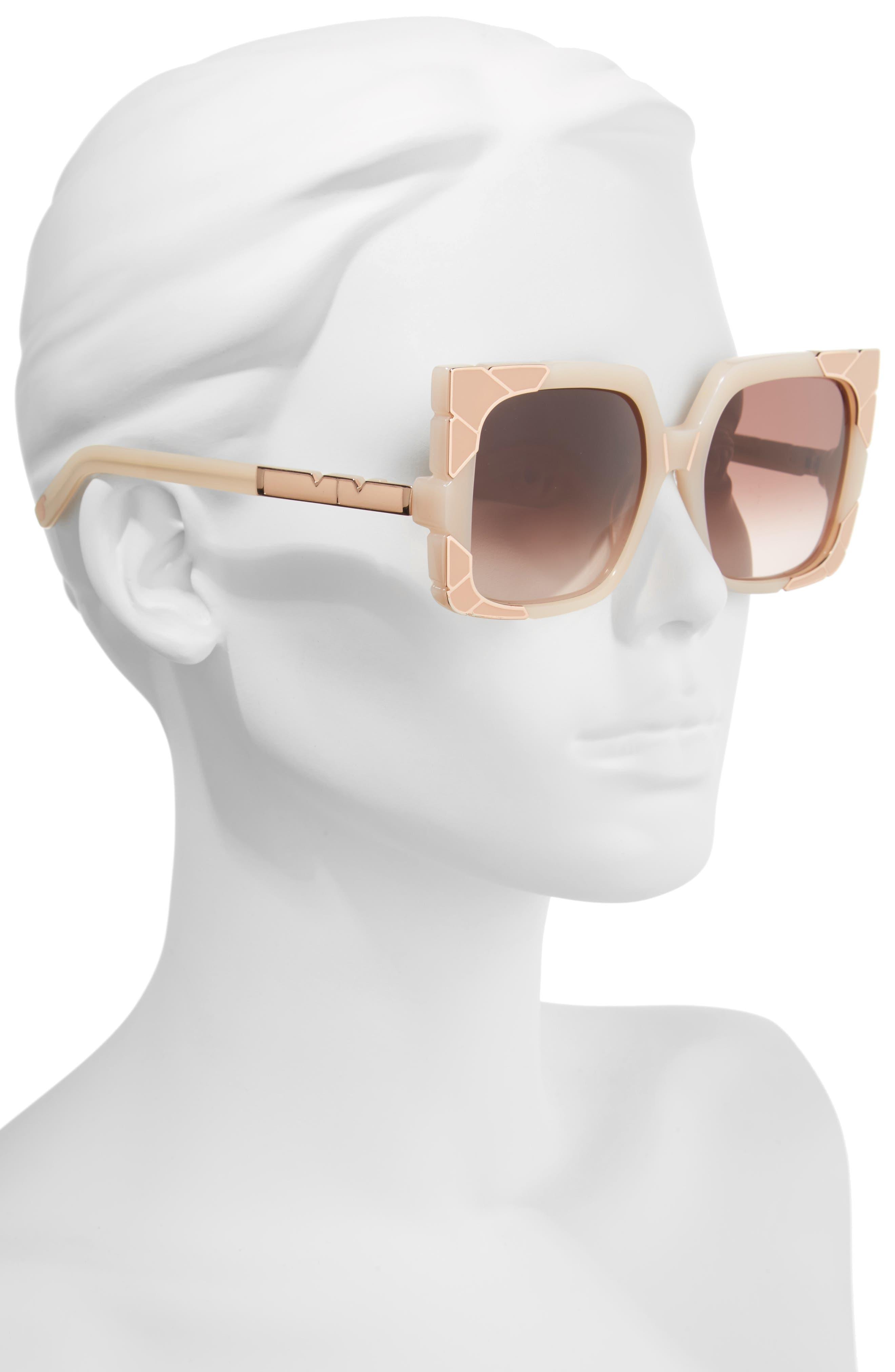Sun & Shade 55mm Square Retro Sunglasses,                             Alternate thumbnail 2, color,                             BLUSH/ ROSE GOLD/ BROWN