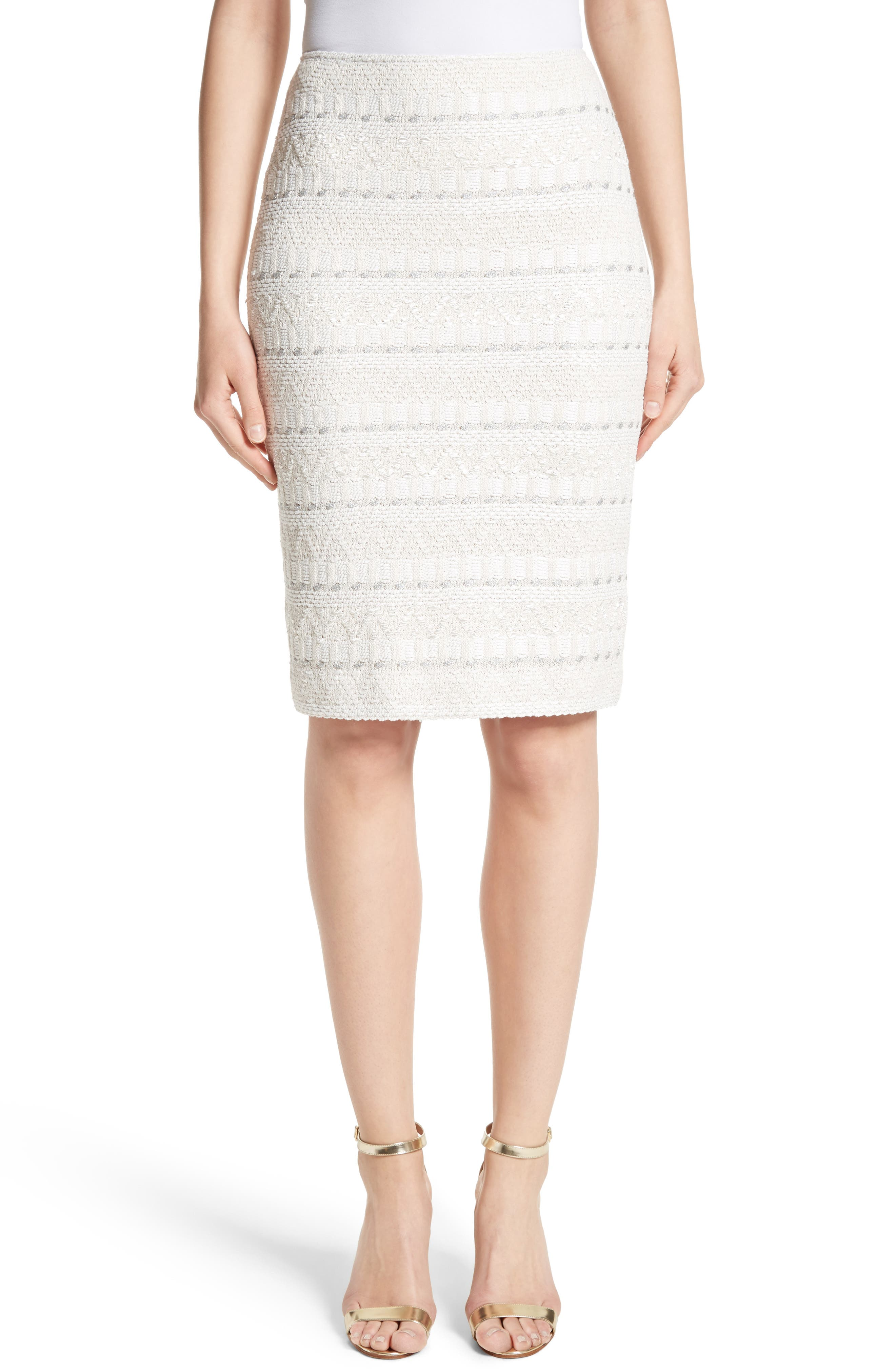 Samar Knit Tweed Pencil Skirt,                             Main thumbnail 1, color,                             100