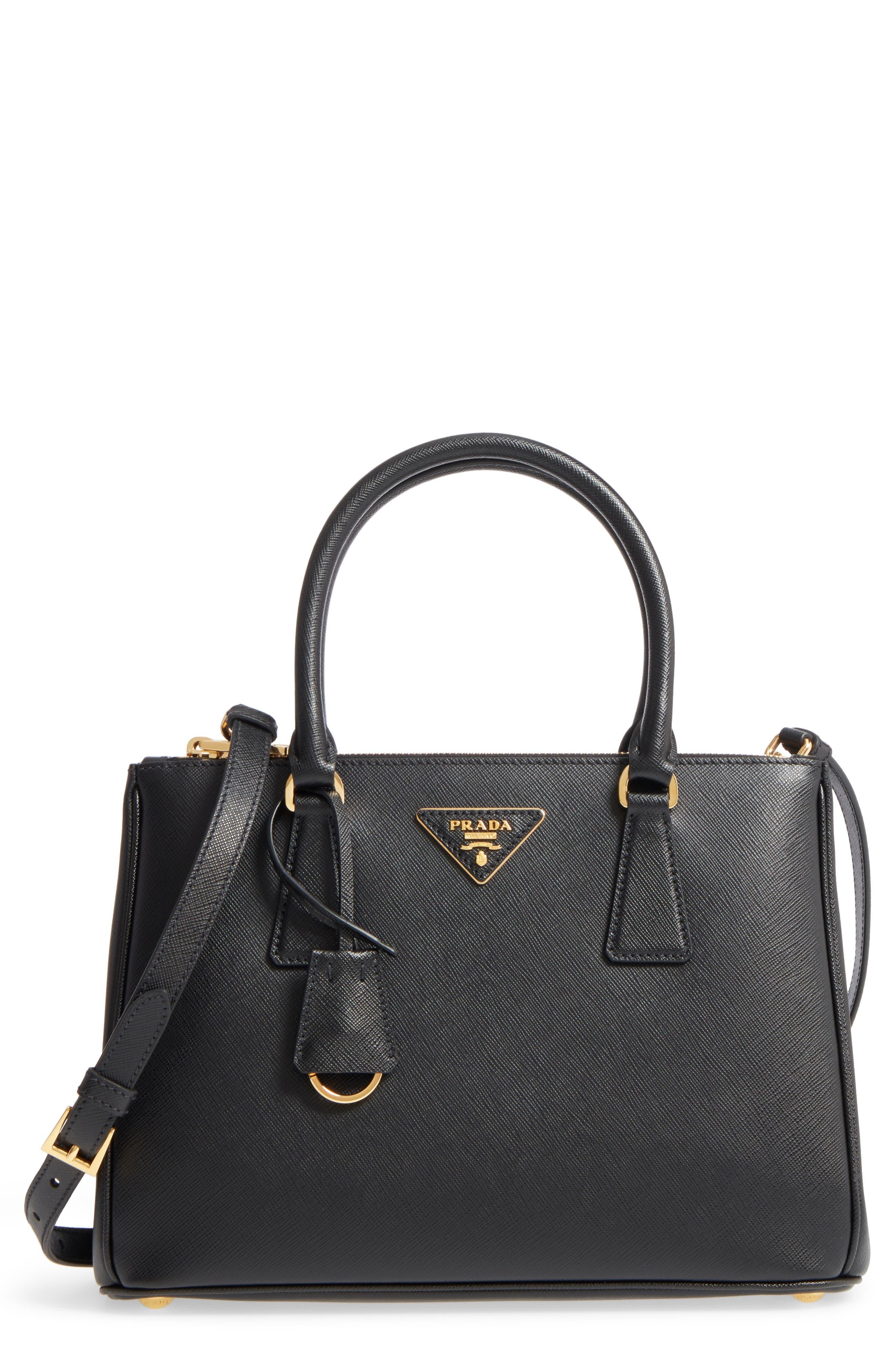 Saffiano Lux Leather Satchel,                         Main,                         color, 001