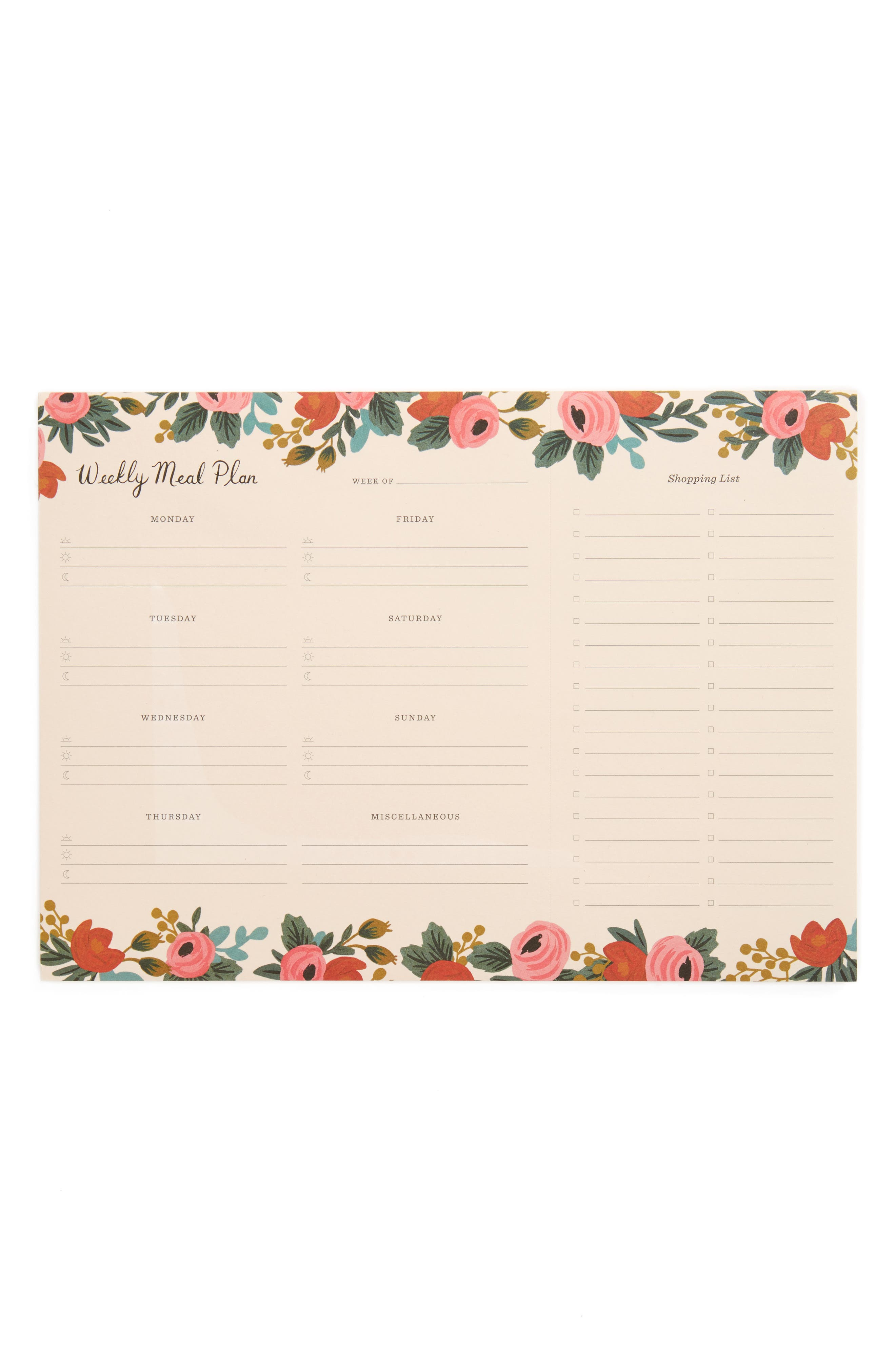 RIFLE PAPER CO. Rife Paper Co. Rosa Meal Planner, Main, color, 650