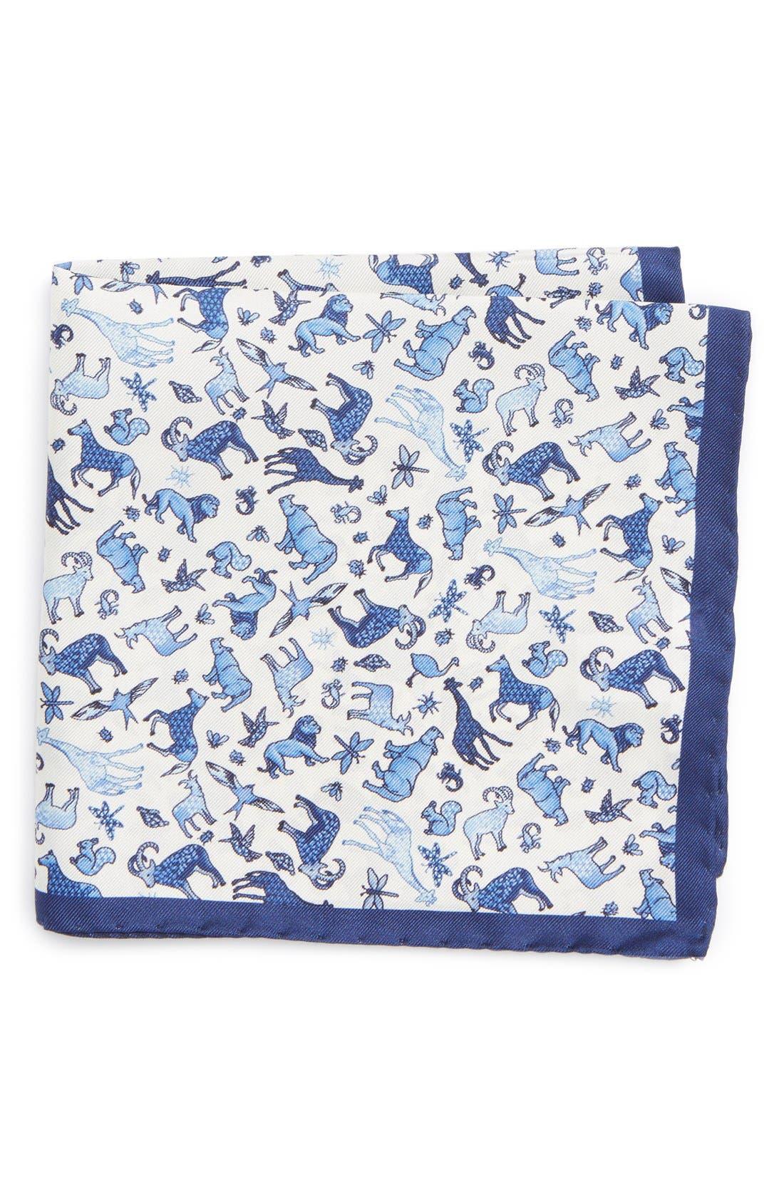 ETON Animal Print Silk Pocket Square, Main, color, 400