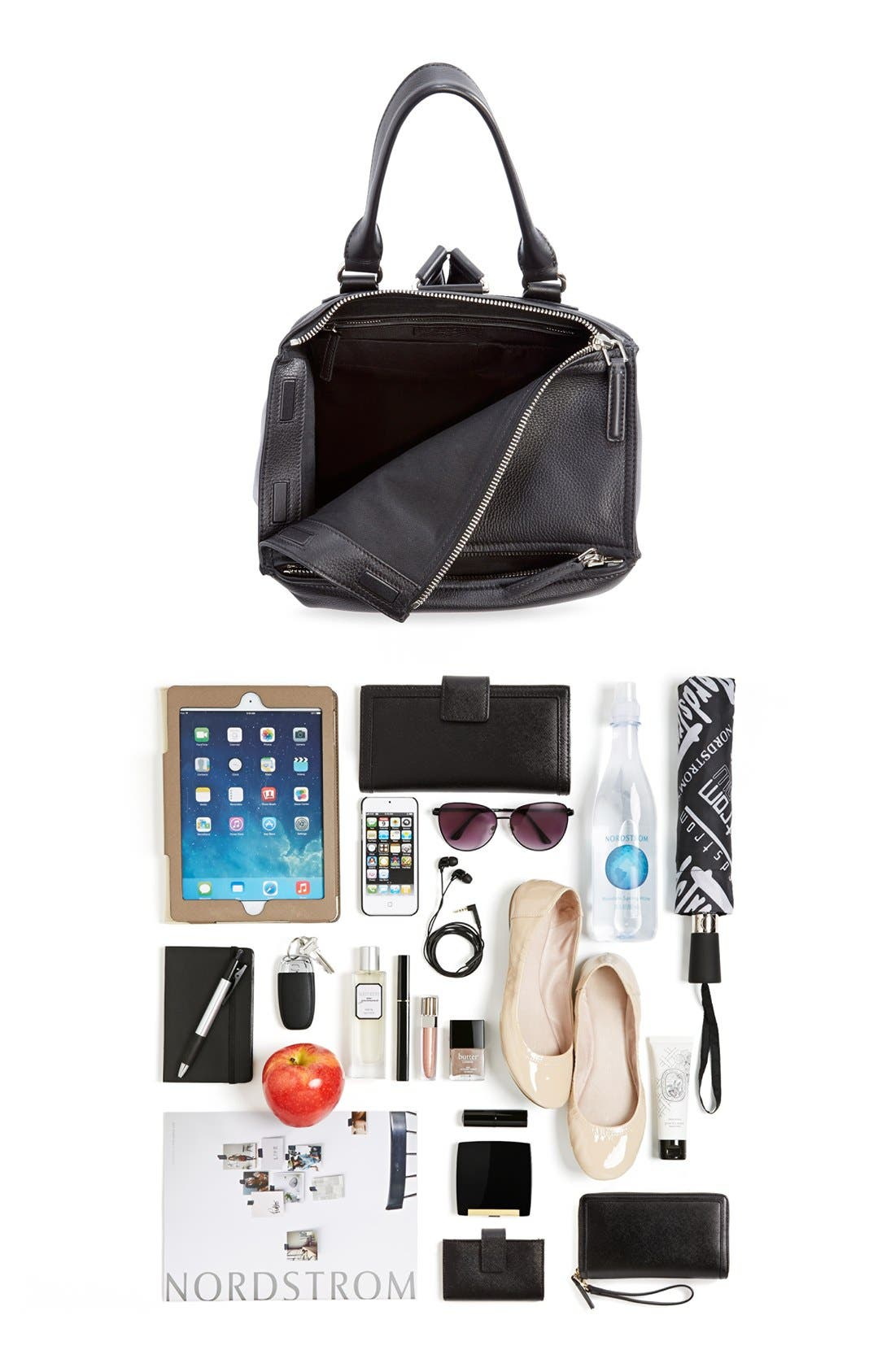 'Pandora' Waxy Leather Backpack,                             Alternate thumbnail 5, color,                             001