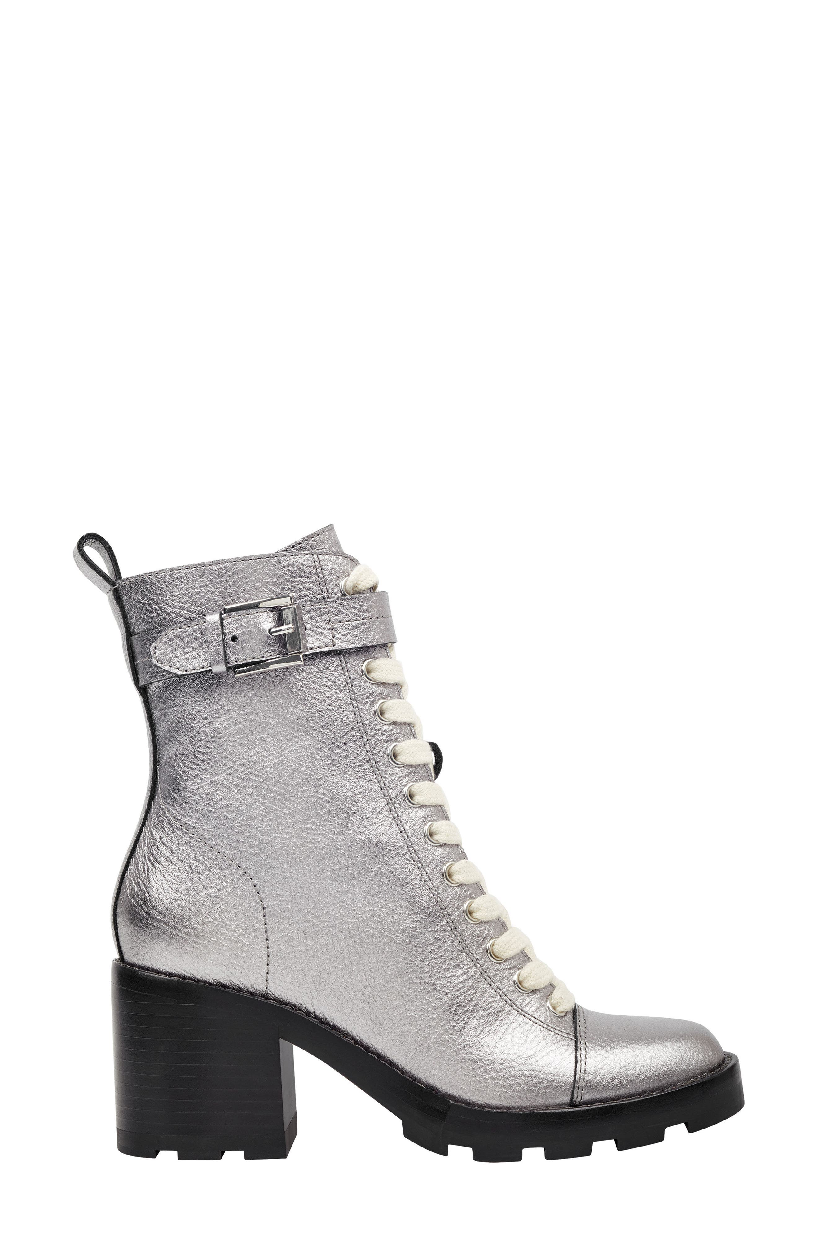 Waren Combat Boot,                             Alternate thumbnail 3, color,                             PEWTER LEATHER