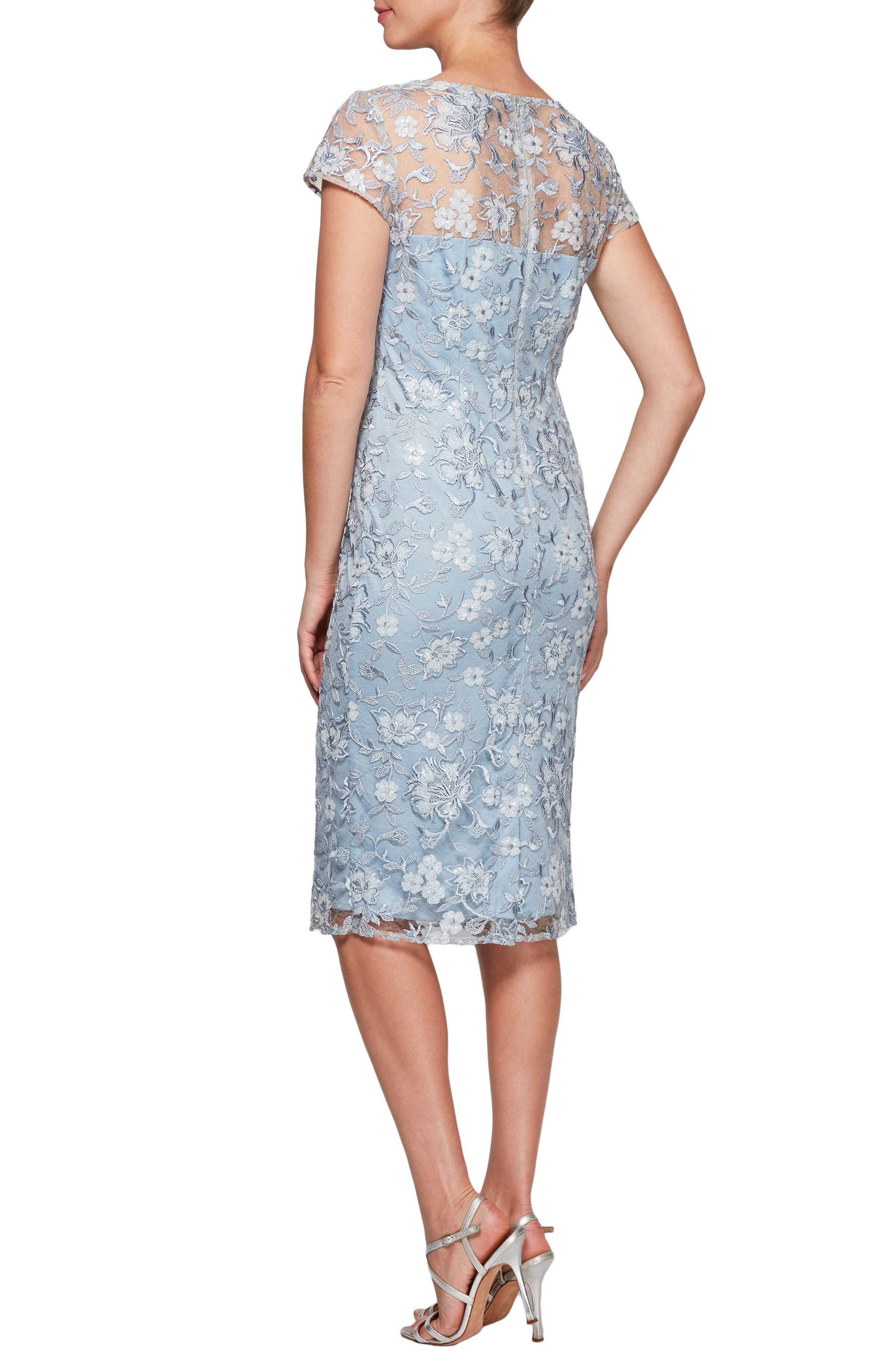 Floral Embroidered Shift Dress,                             Alternate thumbnail 2, color,                             LIGHT BLUE