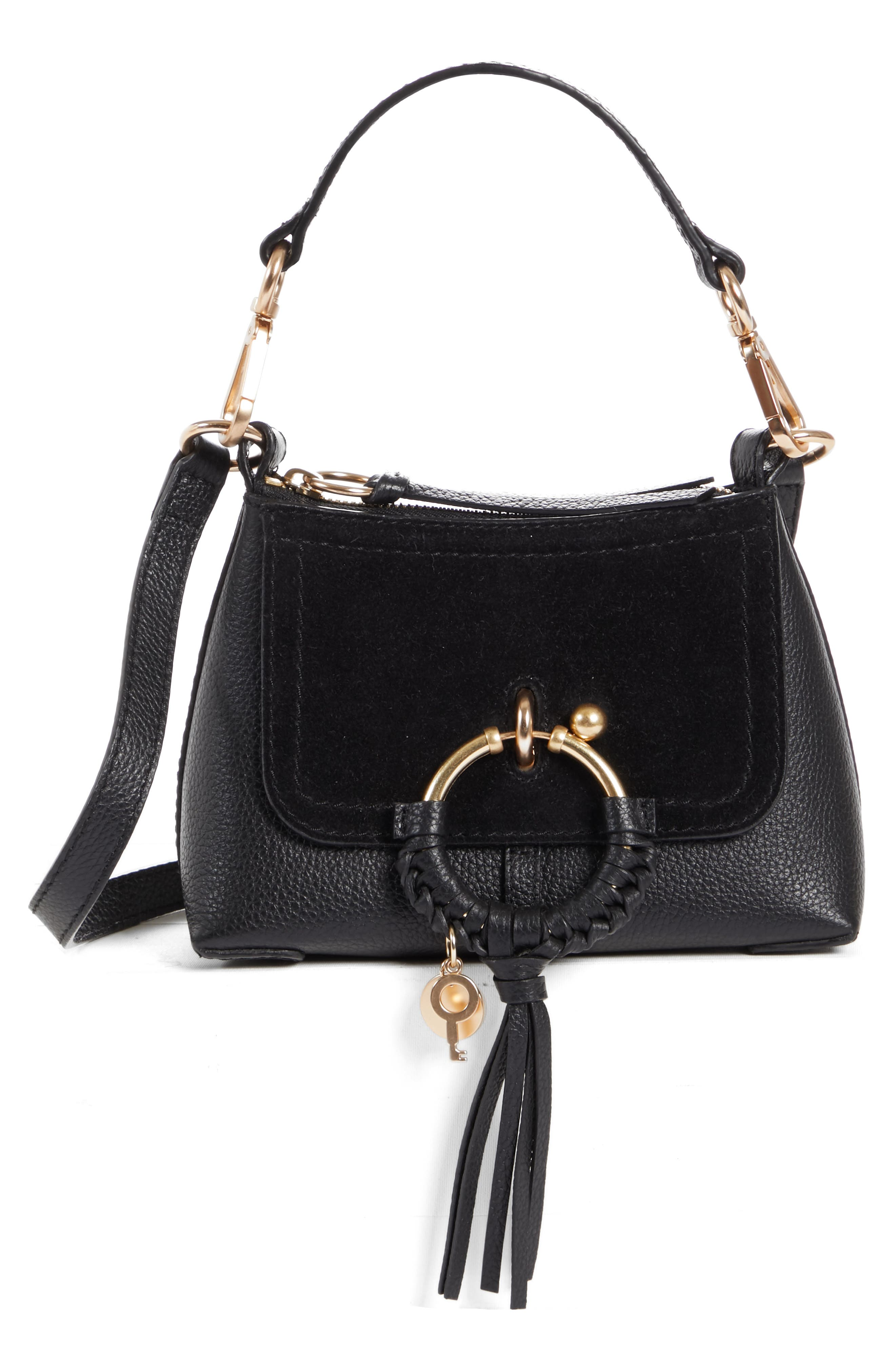 Mini Joan Leather Crossbody Bag,                             Main thumbnail 1, color,                             001