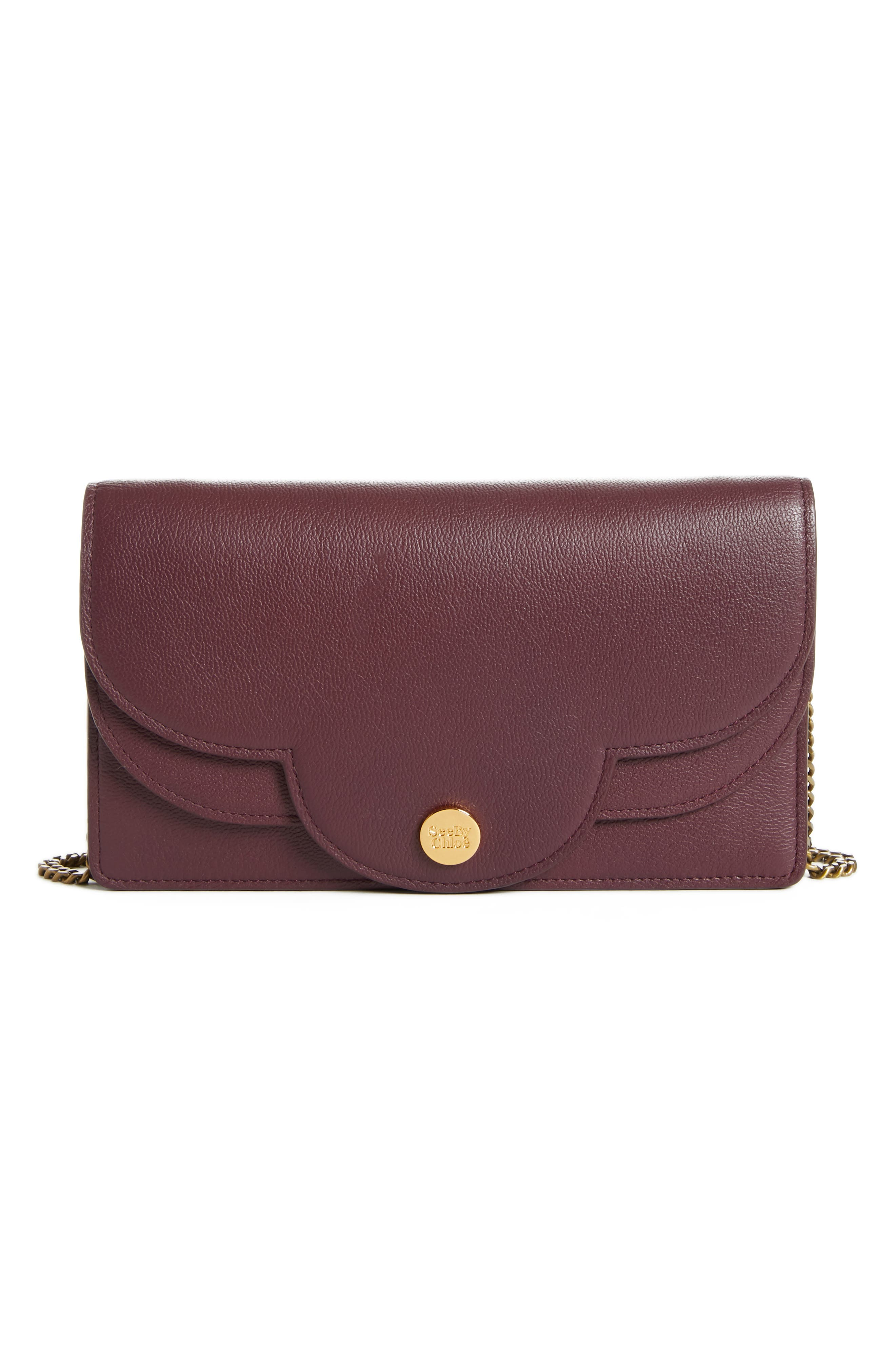 Polina Leather Wallet on a Chain,                         Main,                         color, OBSCURE PURPLE