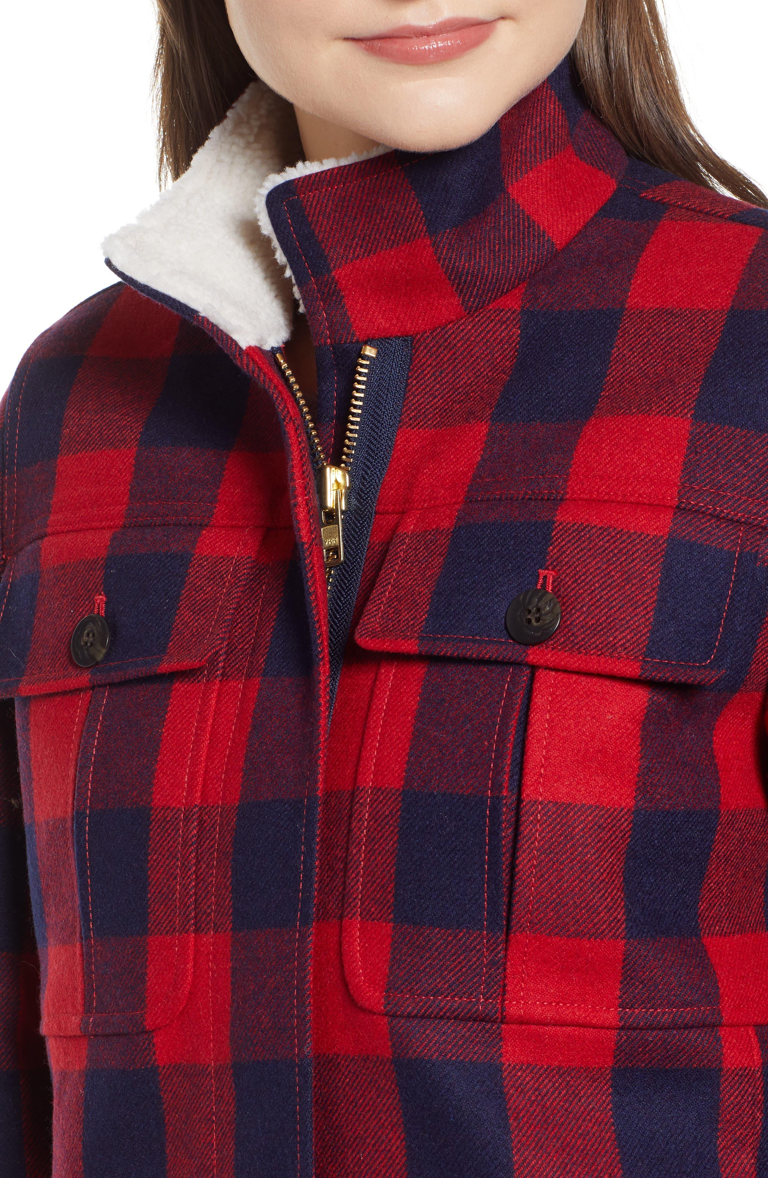 Buffalo Check Workwear Jacket with Faux Shearling Lining,                             Alternate thumbnail 4, color,                             RED NAVY BUFFALO
