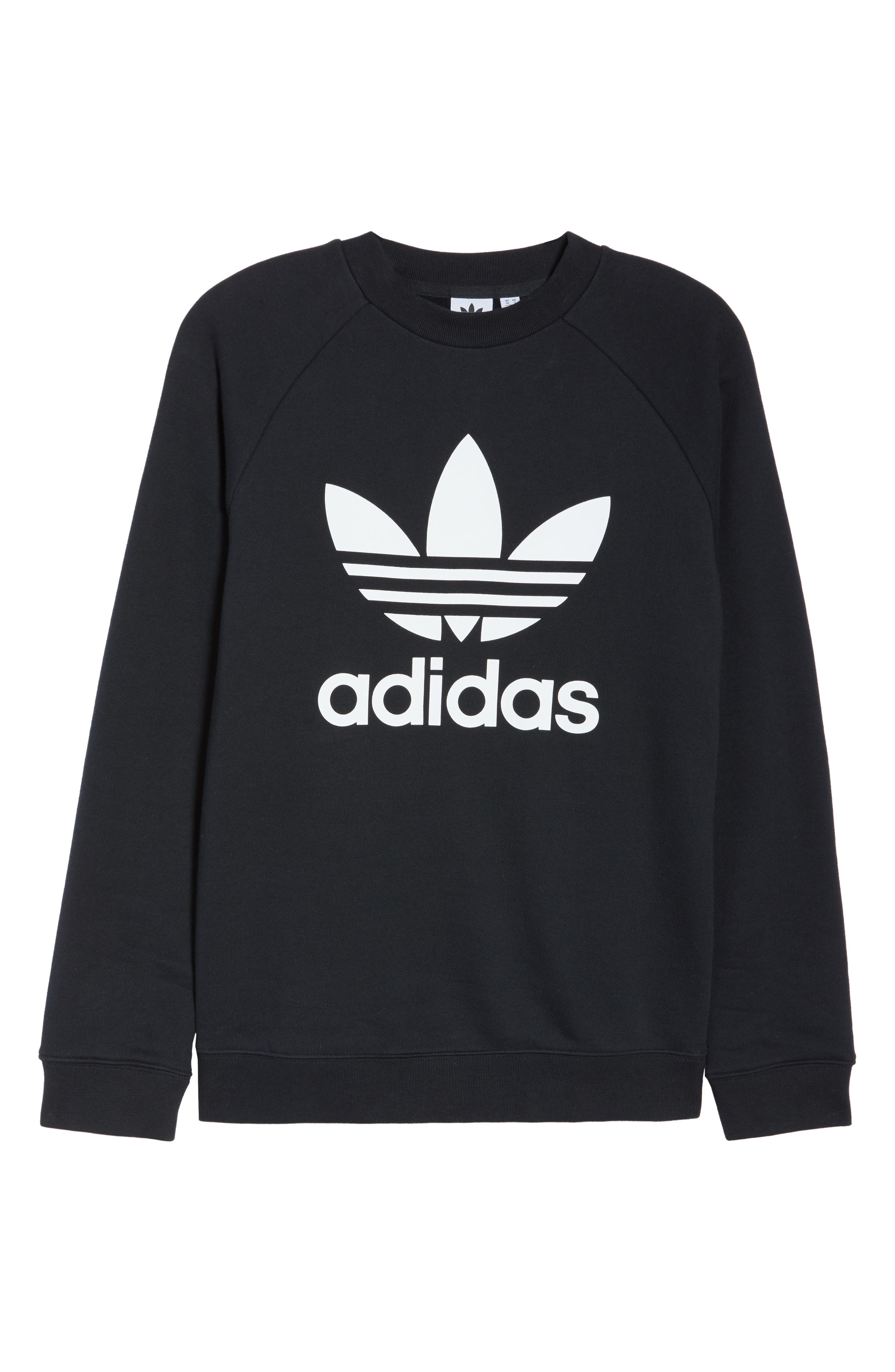 ADIDAS ORIGINALS,                             Trefoil Sweatshirt,                             Alternate thumbnail 7, color,                             BLACK