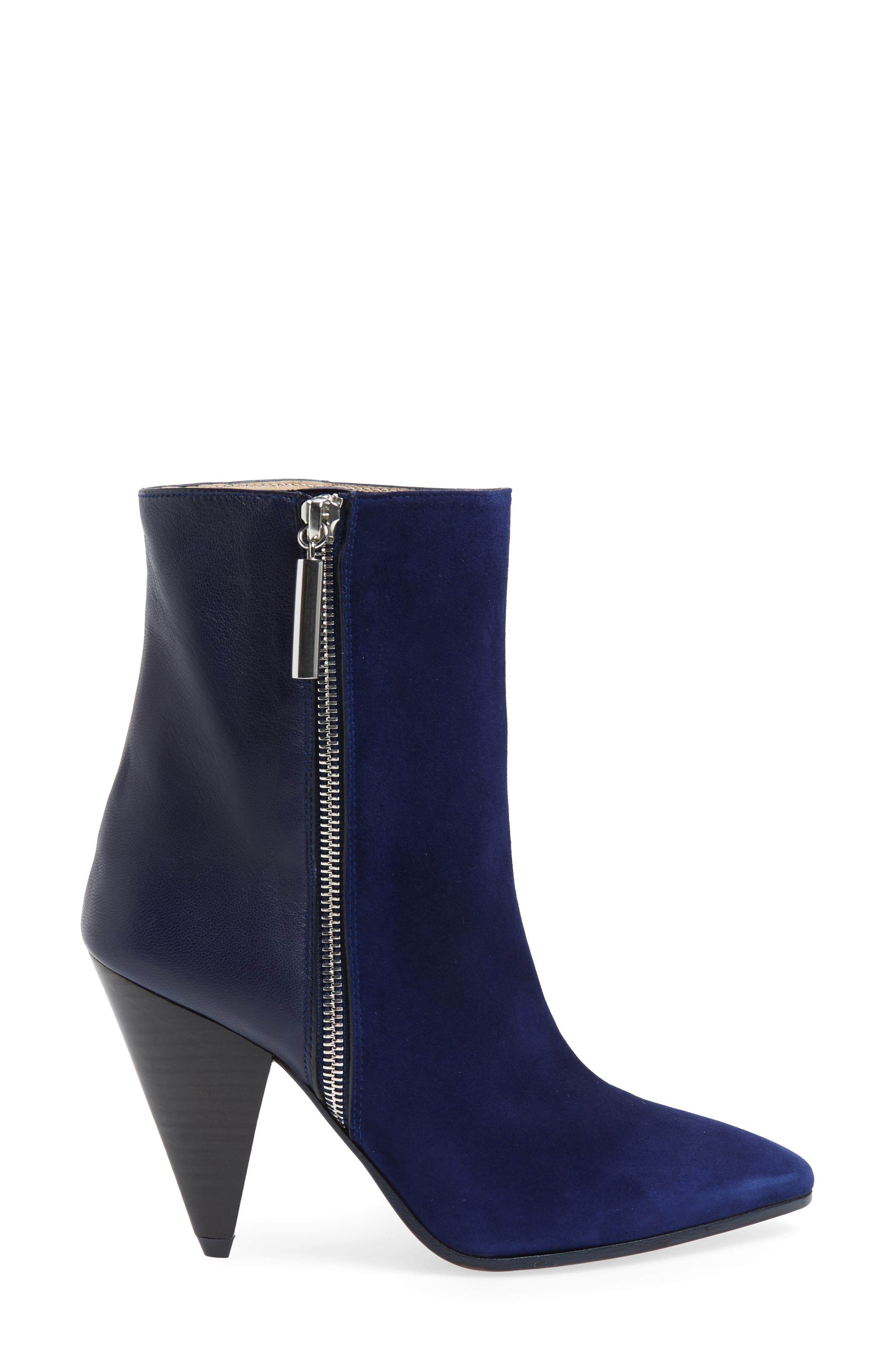Cone Heel Bootie,                             Alternate thumbnail 3, color,                             MIDNIGHT COMBO SUEDE