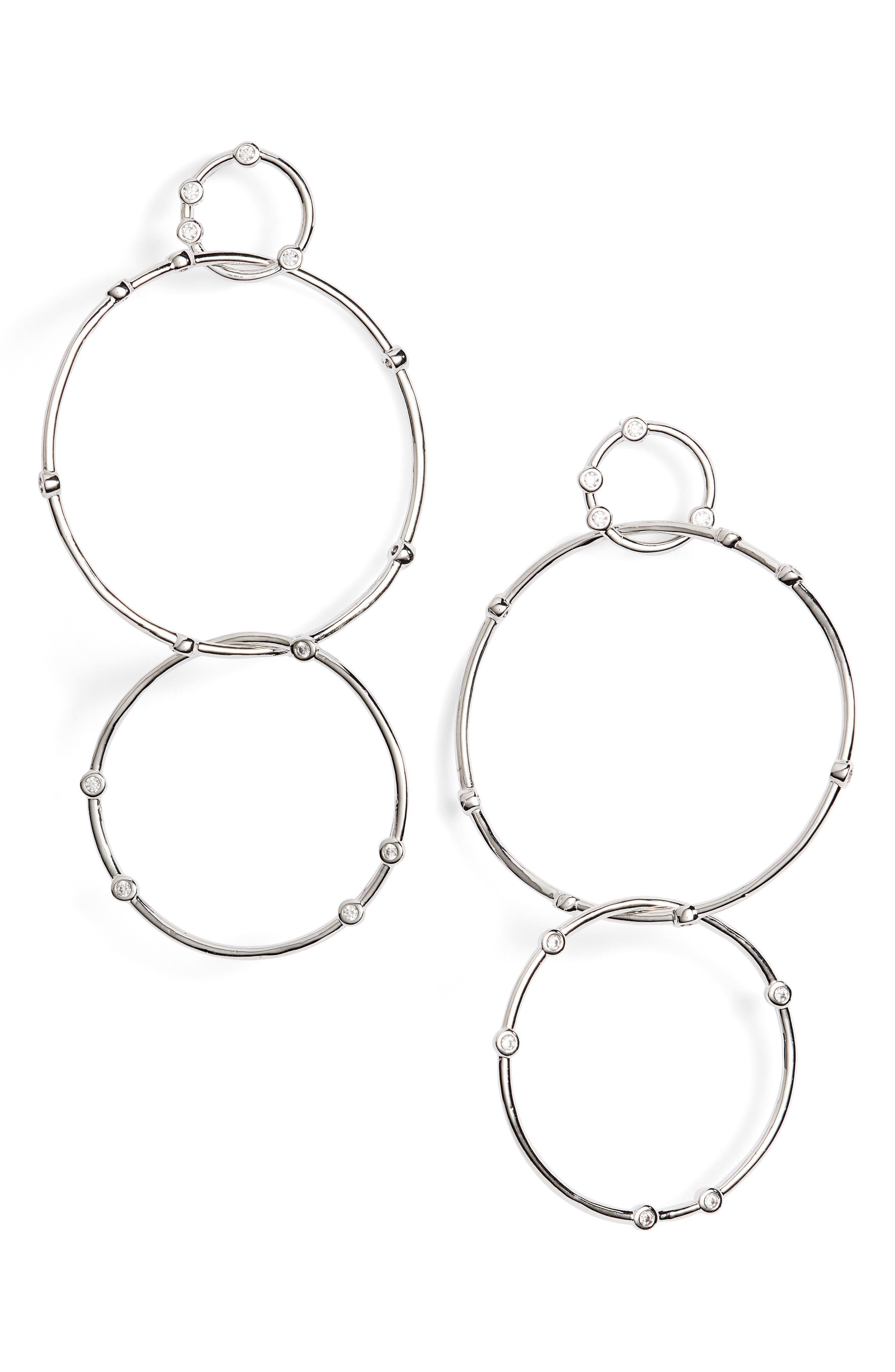 Delicate Link Crystal Drop Earrings,                         Main,                         color, 040