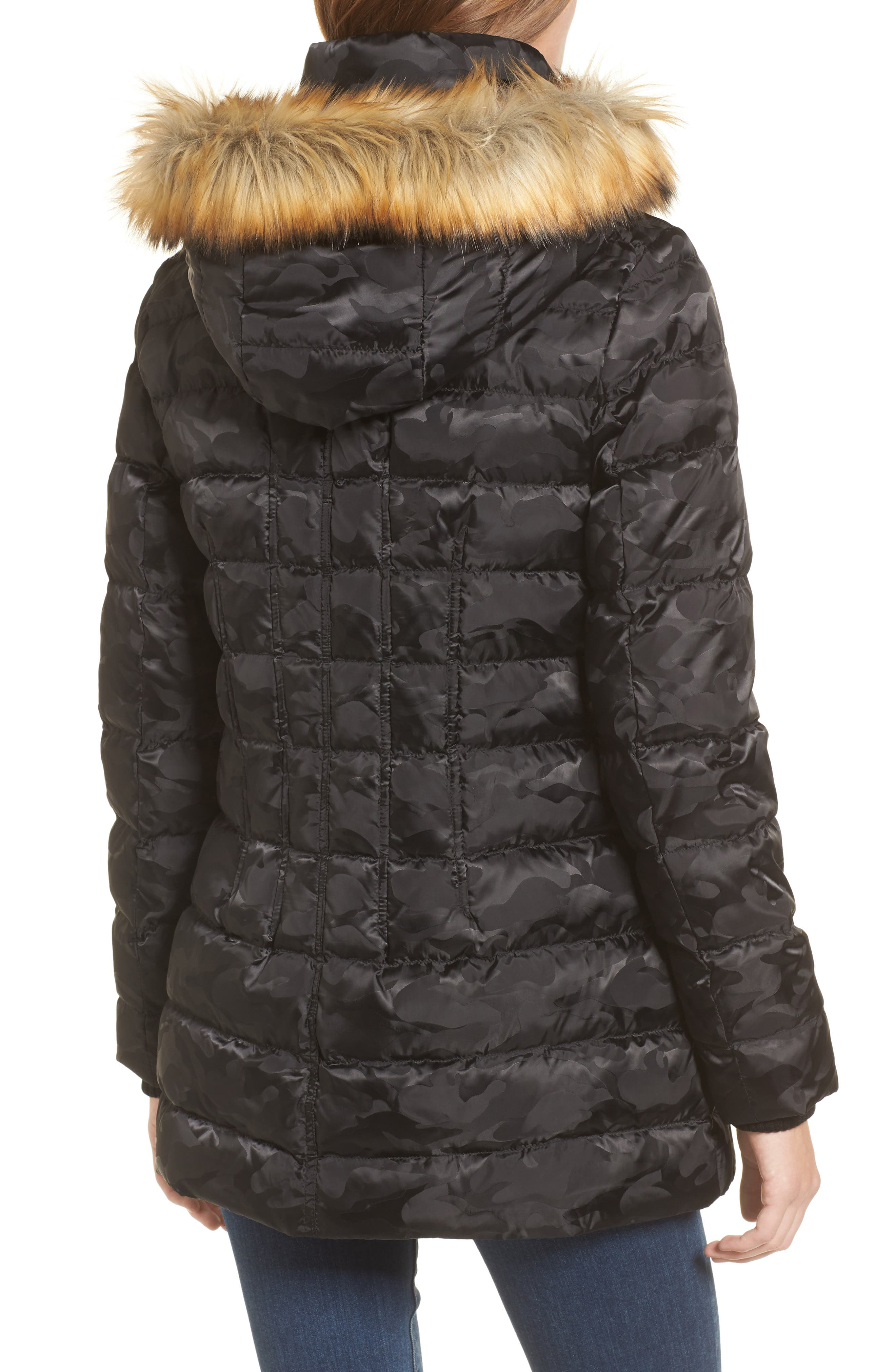 Quilted Coat with Faux Fur Trim Hood,                             Alternate thumbnail 2, color,                             016