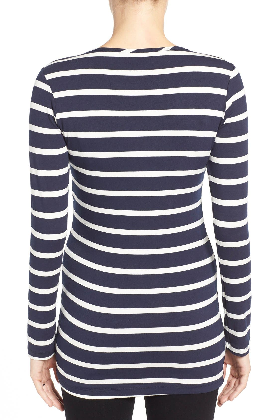 'Wendy' Nursing Top,                             Alternate thumbnail 3, color,                             UNEVEN NAVY STRIPE