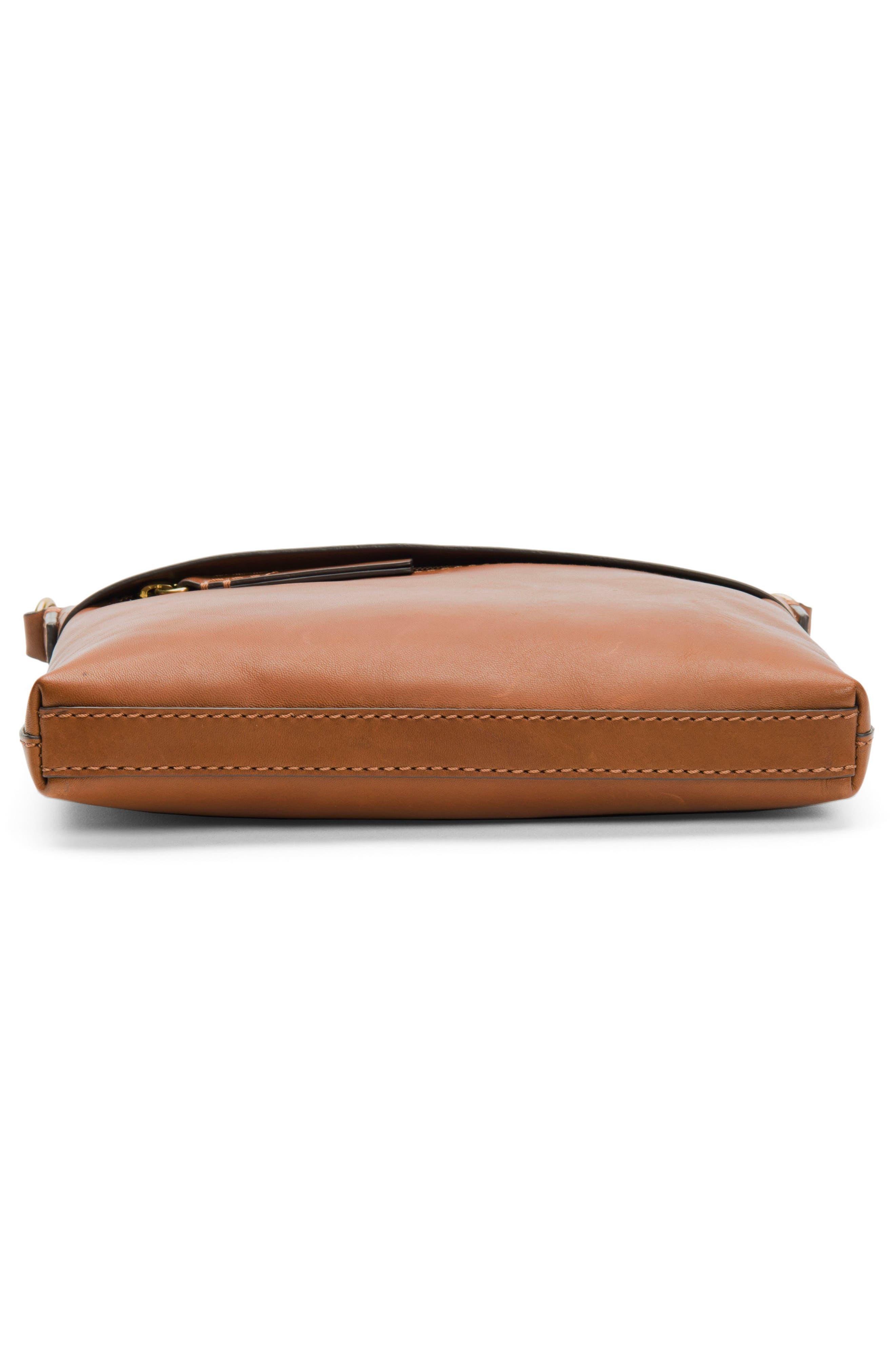 Carson Leather Crossbody Bag,                             Alternate thumbnail 5, color,                             COGNAC