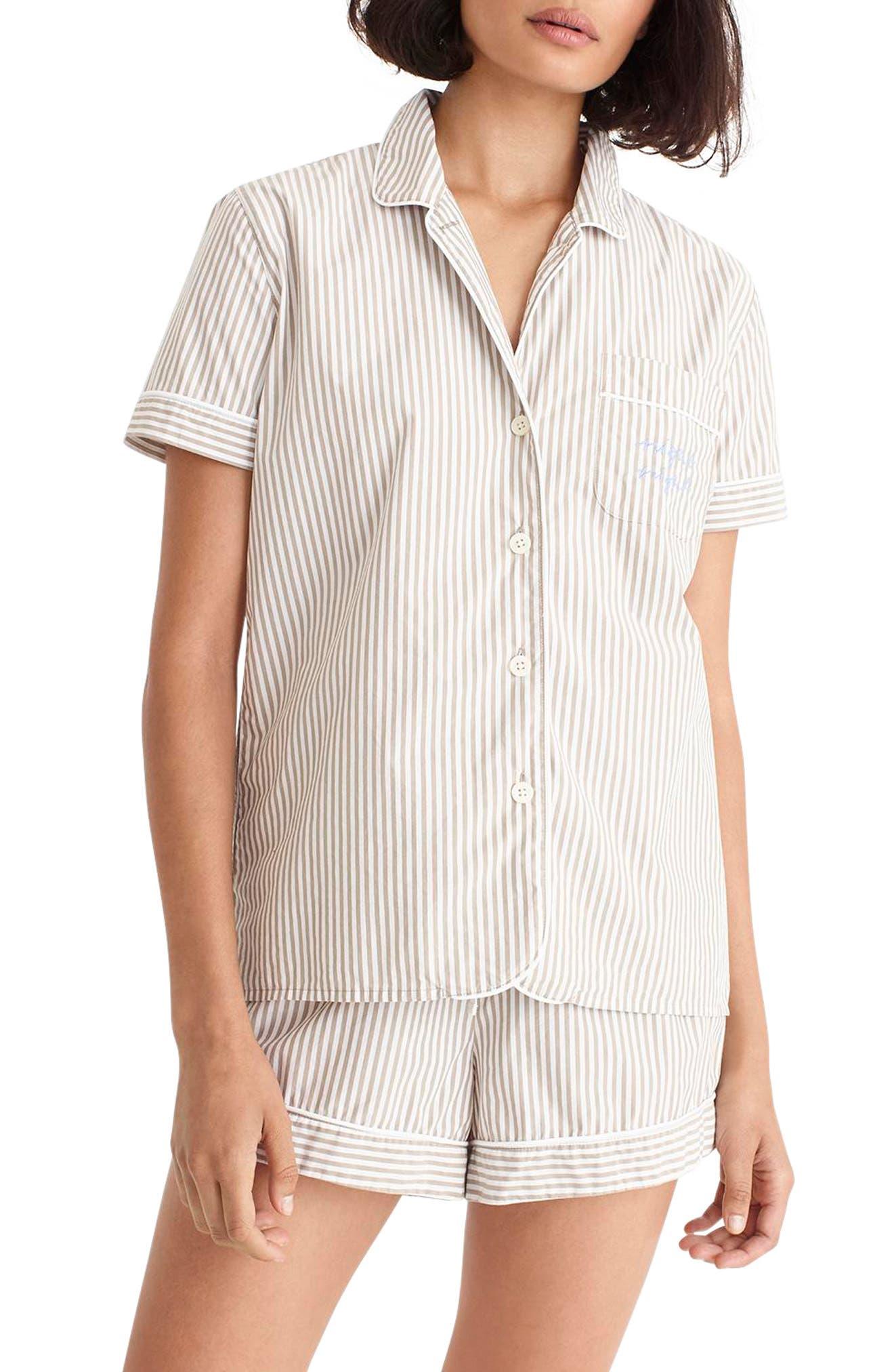 Night Night Short Pajamas,                         Main,                         color, TAN WHITE STRIPE