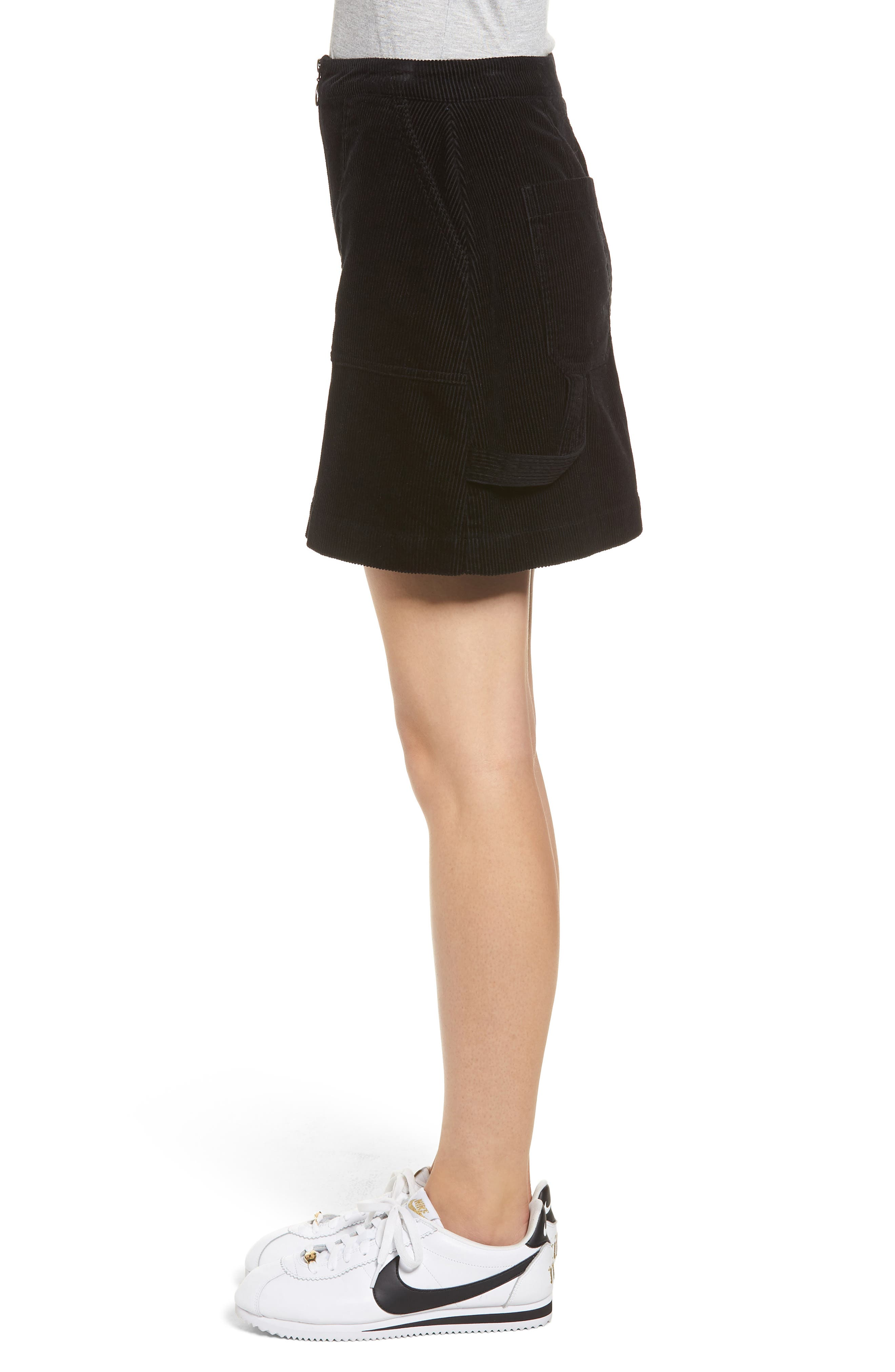 Corduroy Utility Skirt,                             Alternate thumbnail 3, color,                             BLACK