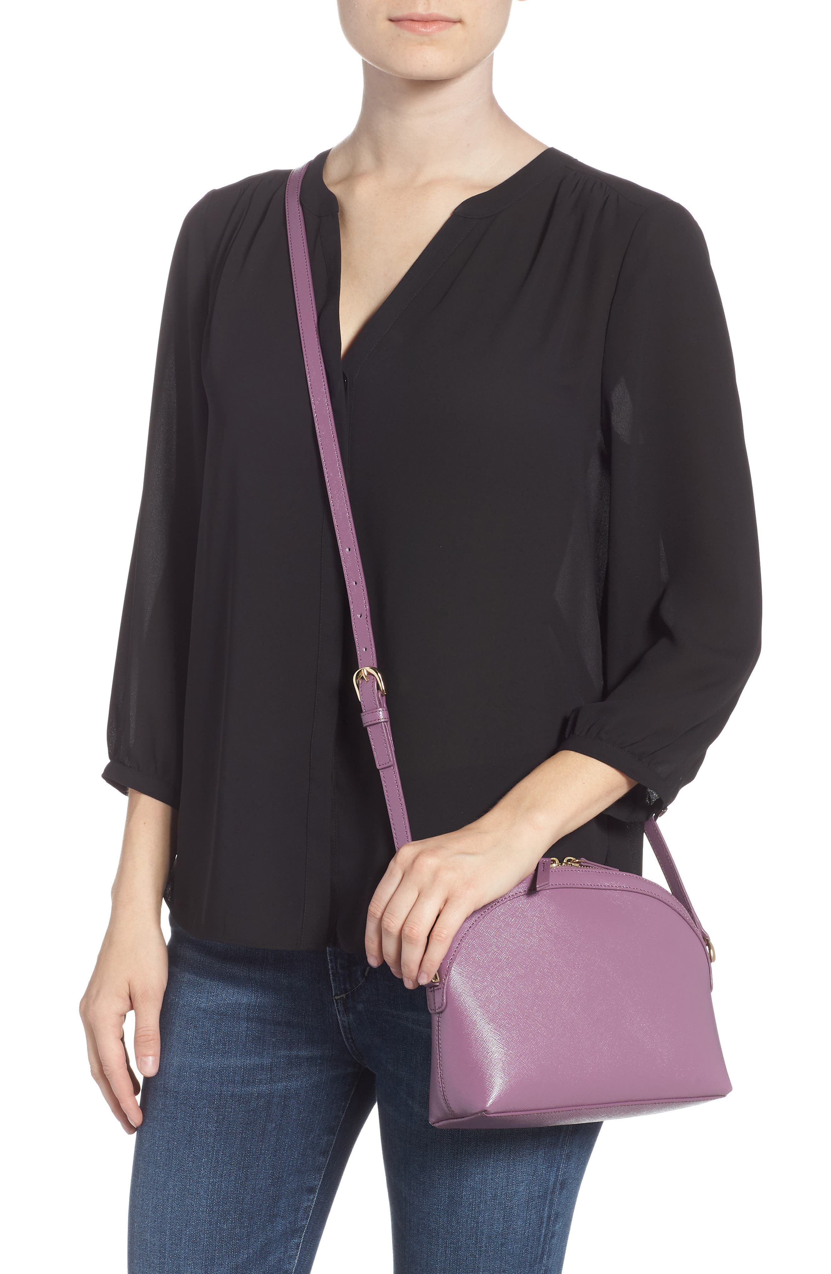 Isobel Half Moon Leather Crossbody Bag,                             Alternate thumbnail 2, color,                             PURPLE BETTA