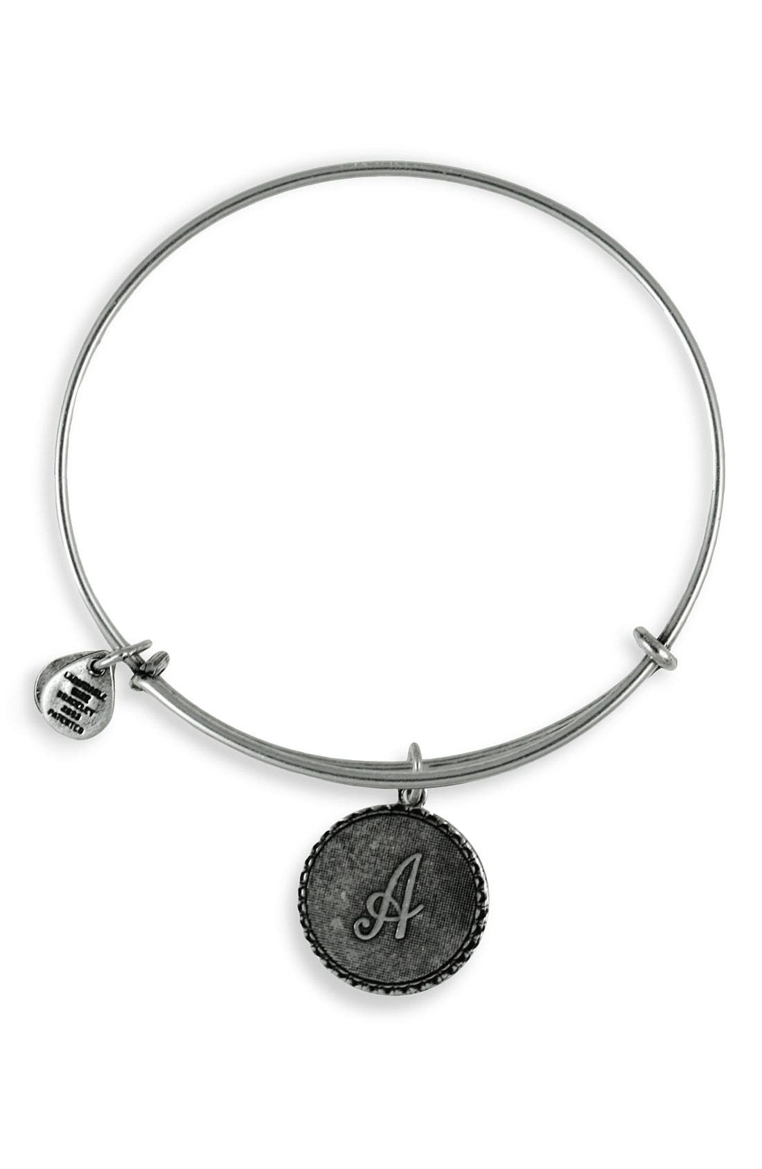 ALEX AND ANI Script Initial Expandable Wire Bangle, Main, color, 040