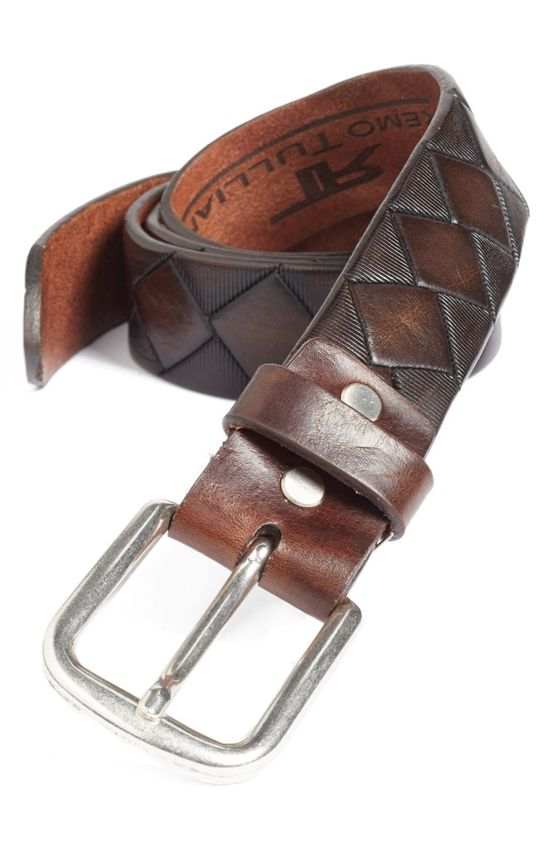 'Dino' Leather Belt,                             Main thumbnail 1, color,                             BROWN