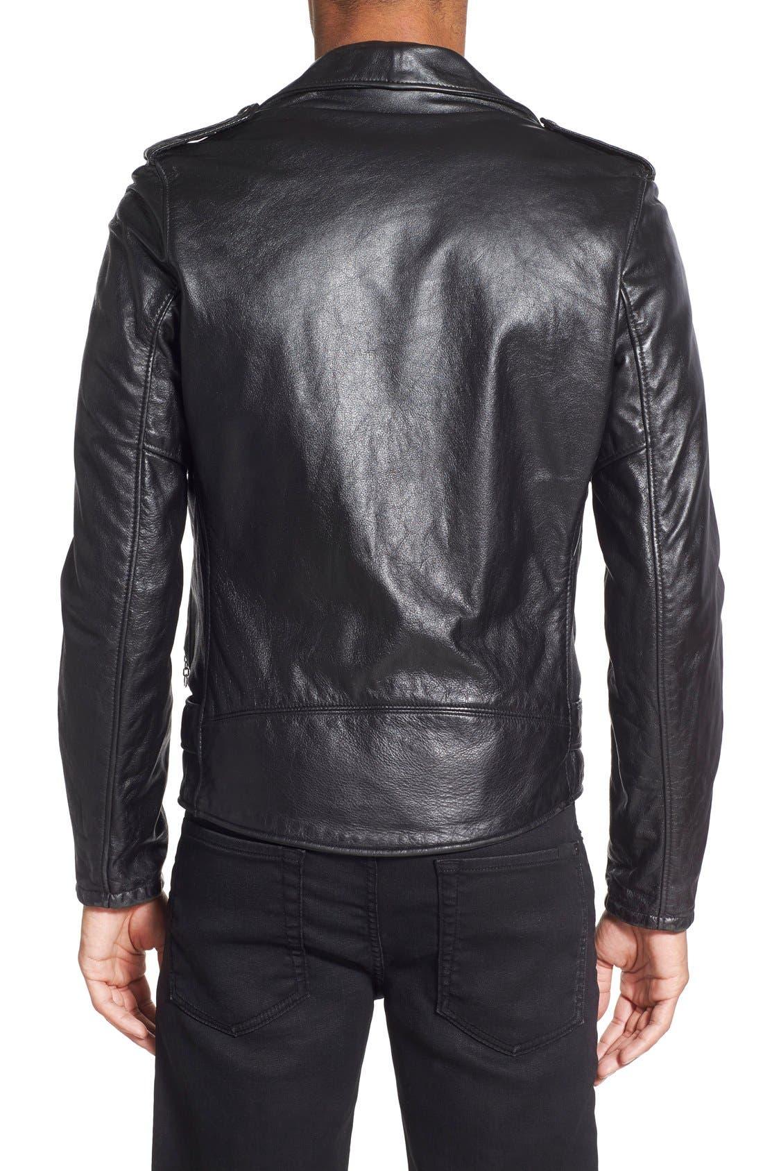 Hand Vintaged Cowhide Leather Motocycle Jacket,                             Alternate thumbnail 8, color,                             BLACK