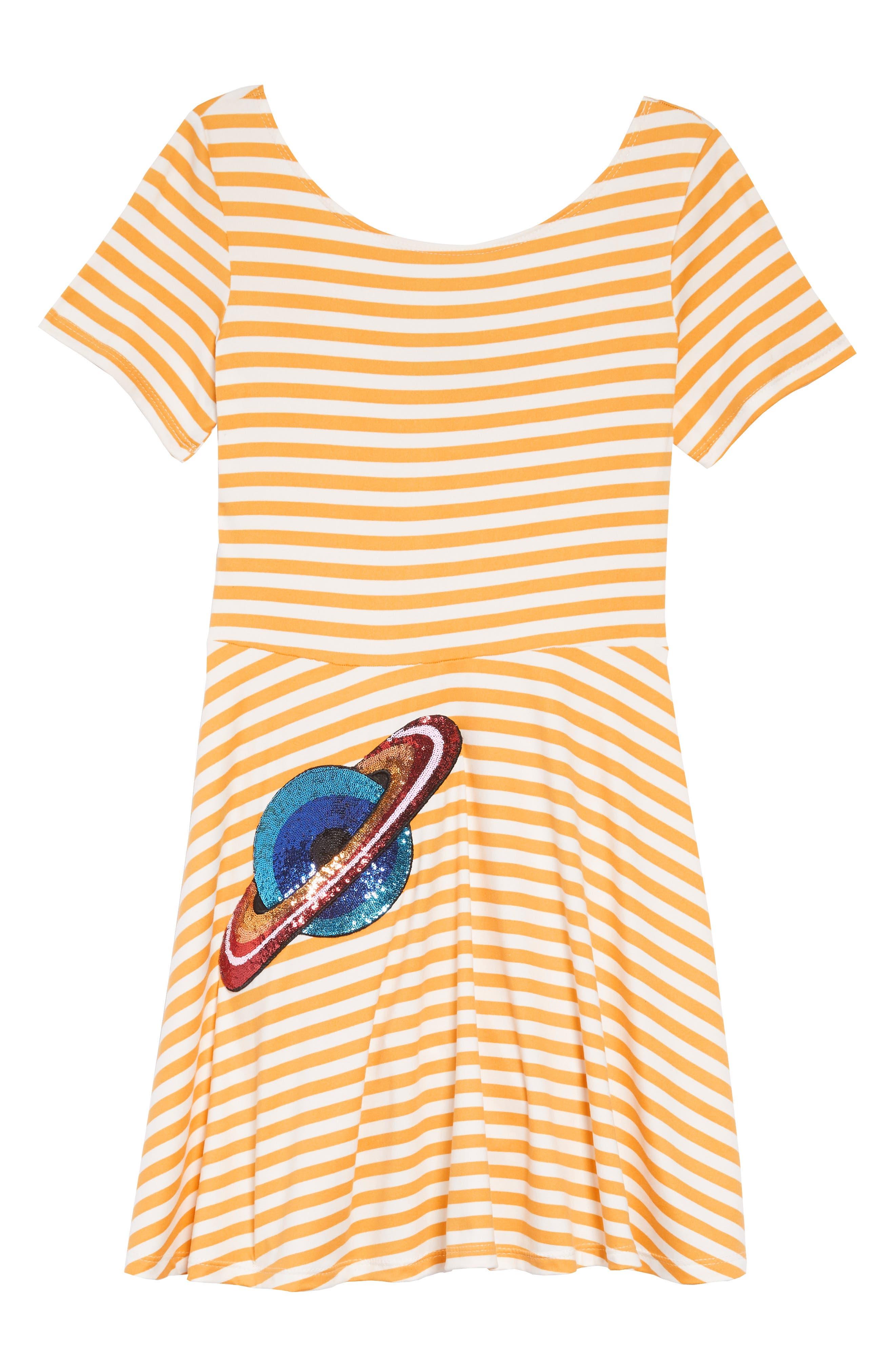 Blooming Skater Dress,                             Main thumbnail 1, color,                             MUSTARD