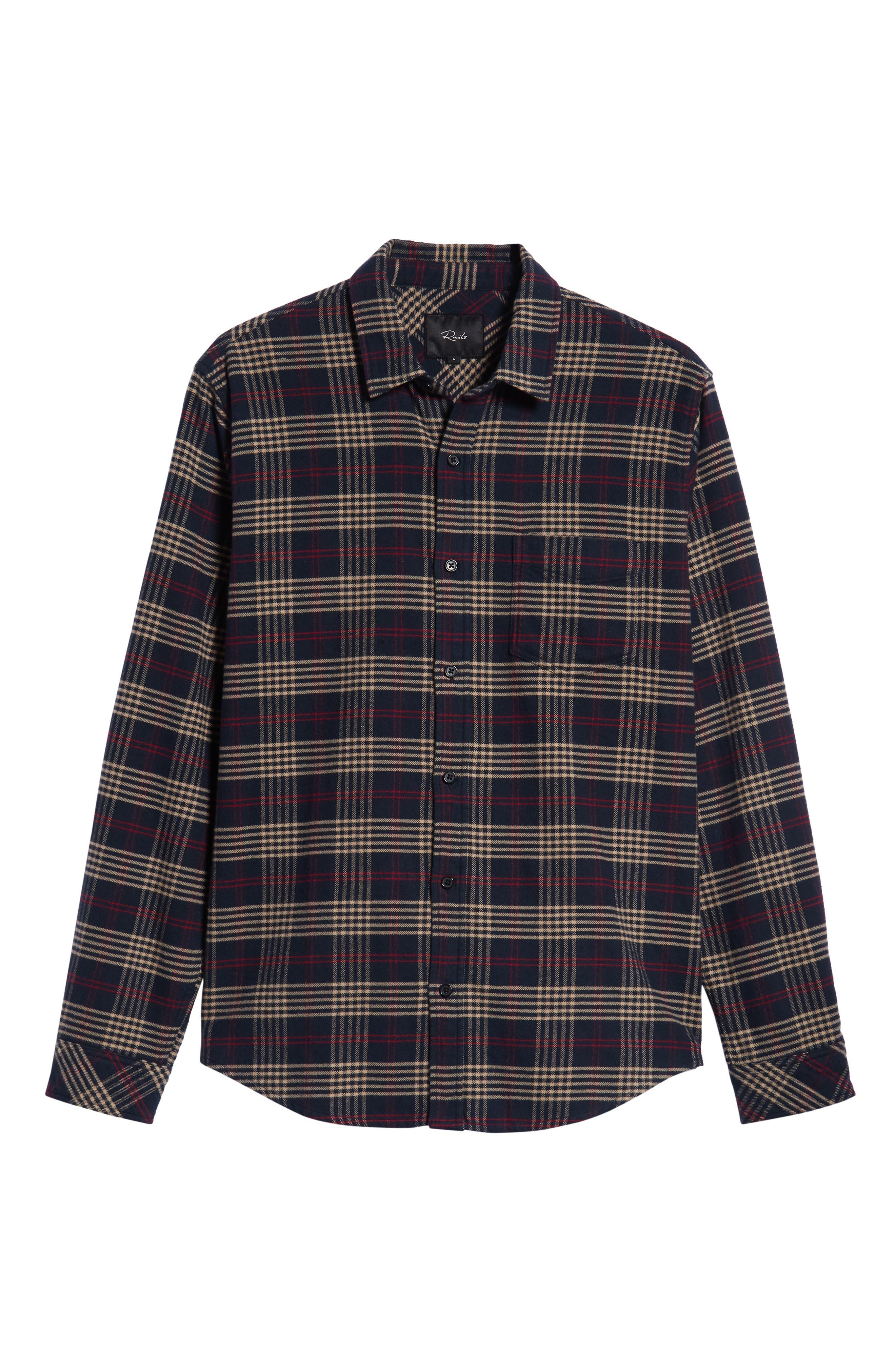 Forrest Slim Fit Plaid Flannel Sport Shirt,                             Alternate thumbnail 5, color,                             NAVY/RED/ELM