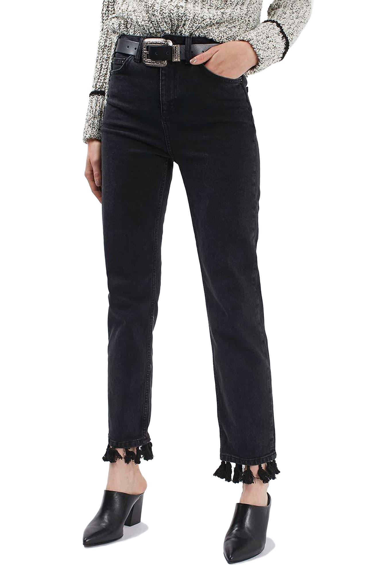 Tassel Hem Straight Leg Jeans,                             Main thumbnail 1, color,                             001